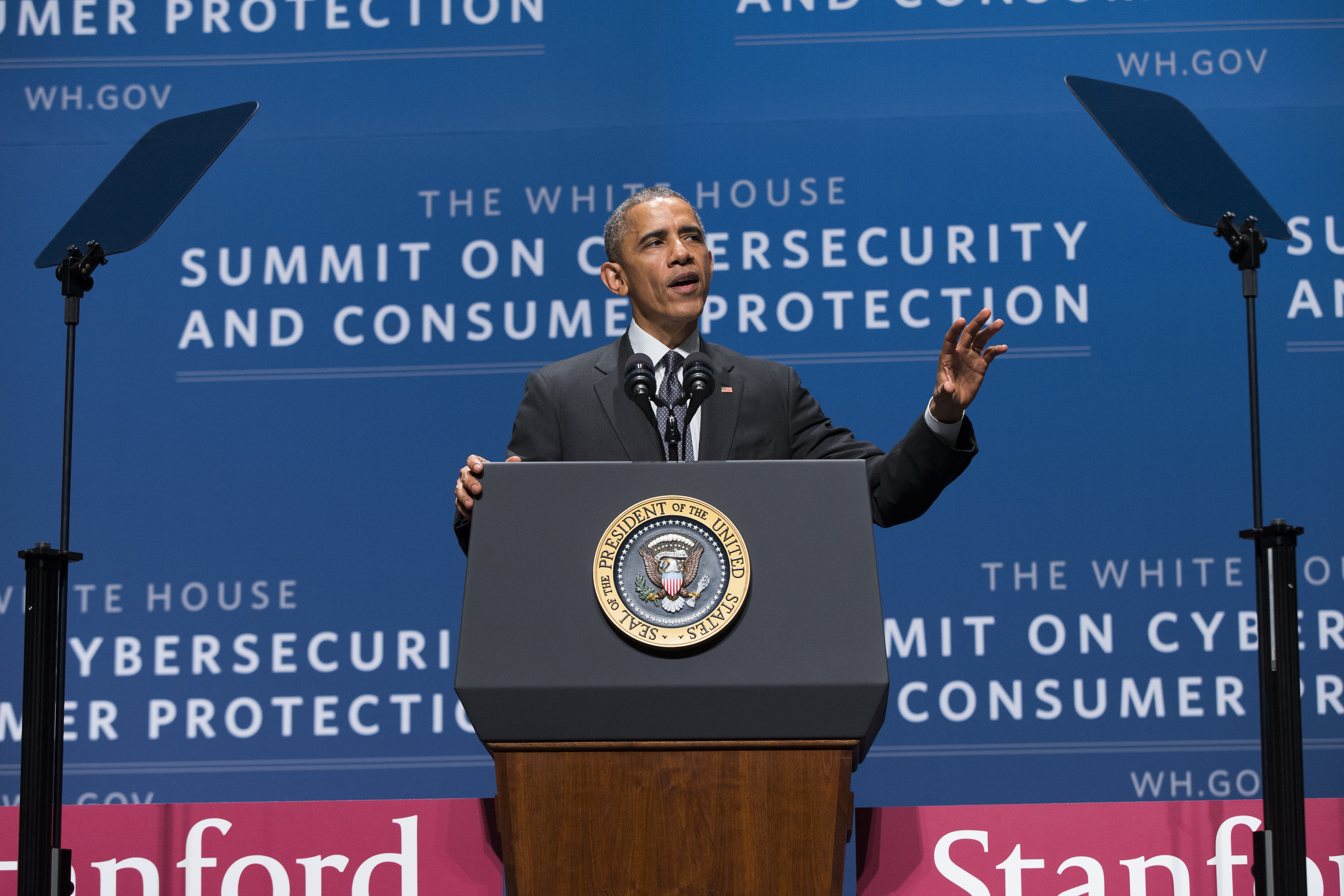 President Barack Obama speaks during a summit on cybersecurity and consumer protection, Friday, Feb. 13, 2015, at Stanford University in Palo Alto, Calif. The president said cyberspace is the new  wild West  _ with daily attempted hacks and people looking to the government to be the sheriff. He's asking the private sector to do more to help.  (AP Photo/Evan Vucci)