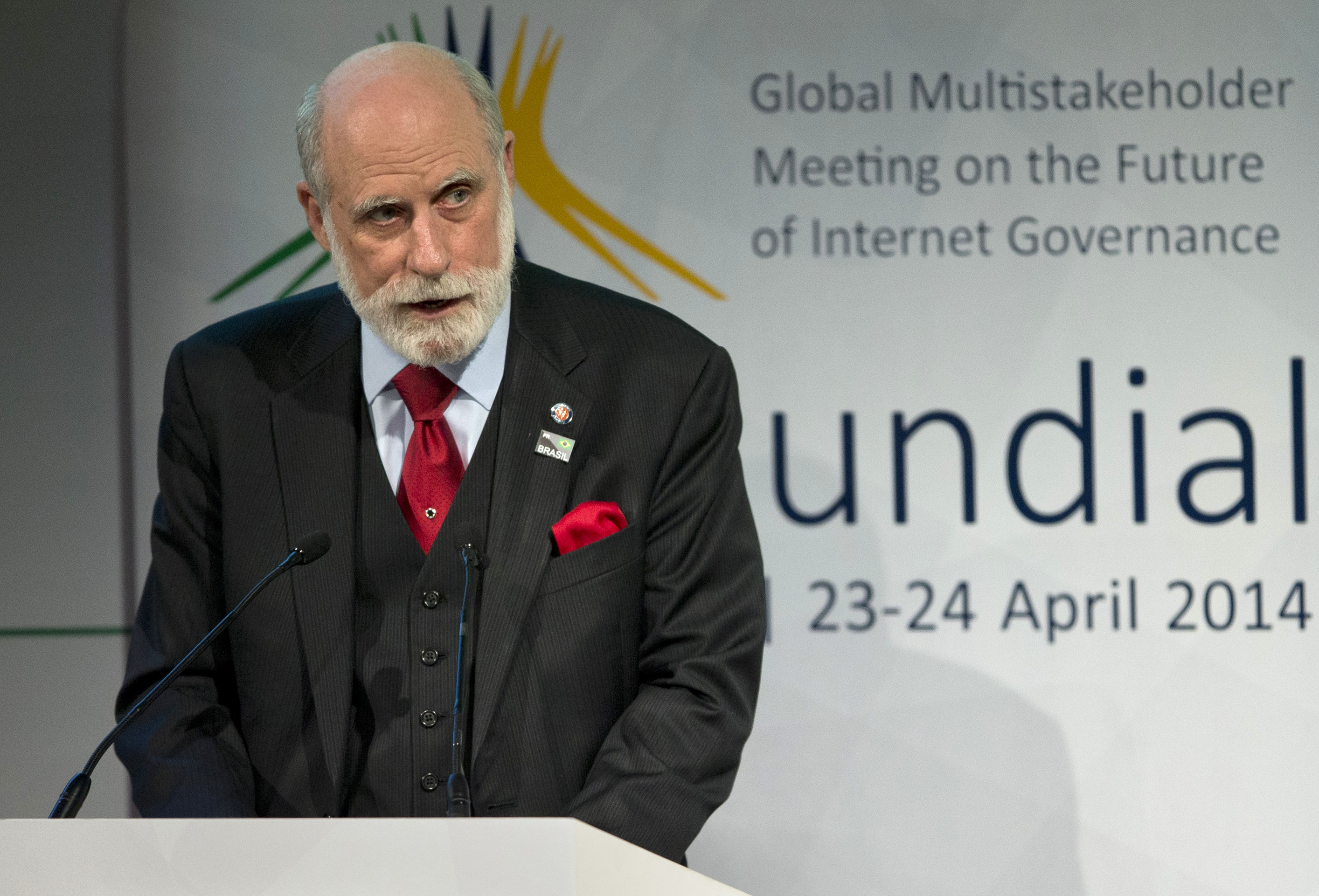 Computer scientist Vint Cerf addresses the opening ceremony of NETmundial, a major conference on the future of Internet governance in Sao Paulo on April 23, 2014.