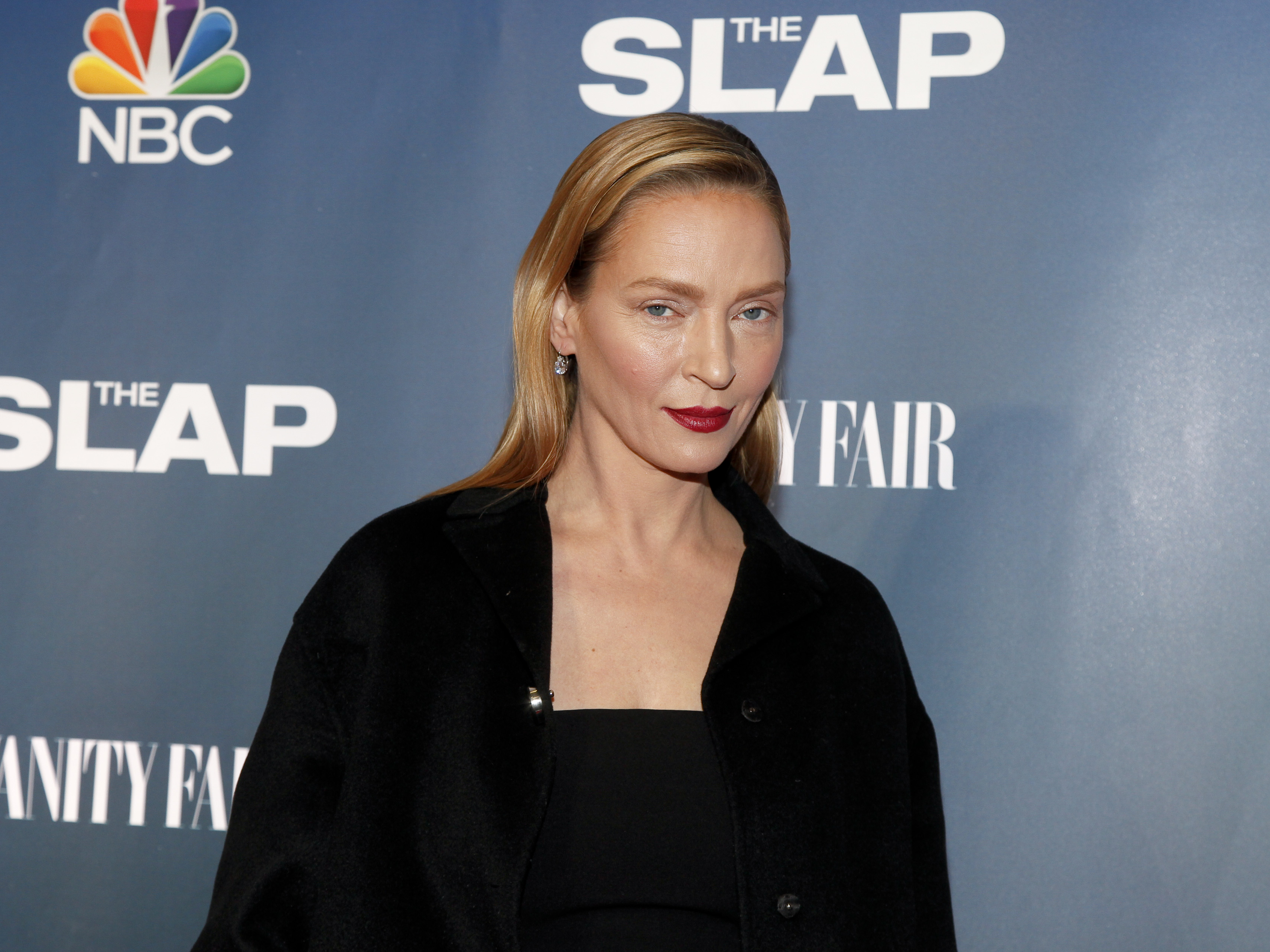 Uma Thurman attends NBC's  The Slap  miniseries premiere party at the New Museum on Monday, Feb. 9, 2015, in New York. (Photo by Andy Kropa/Invision/AP)