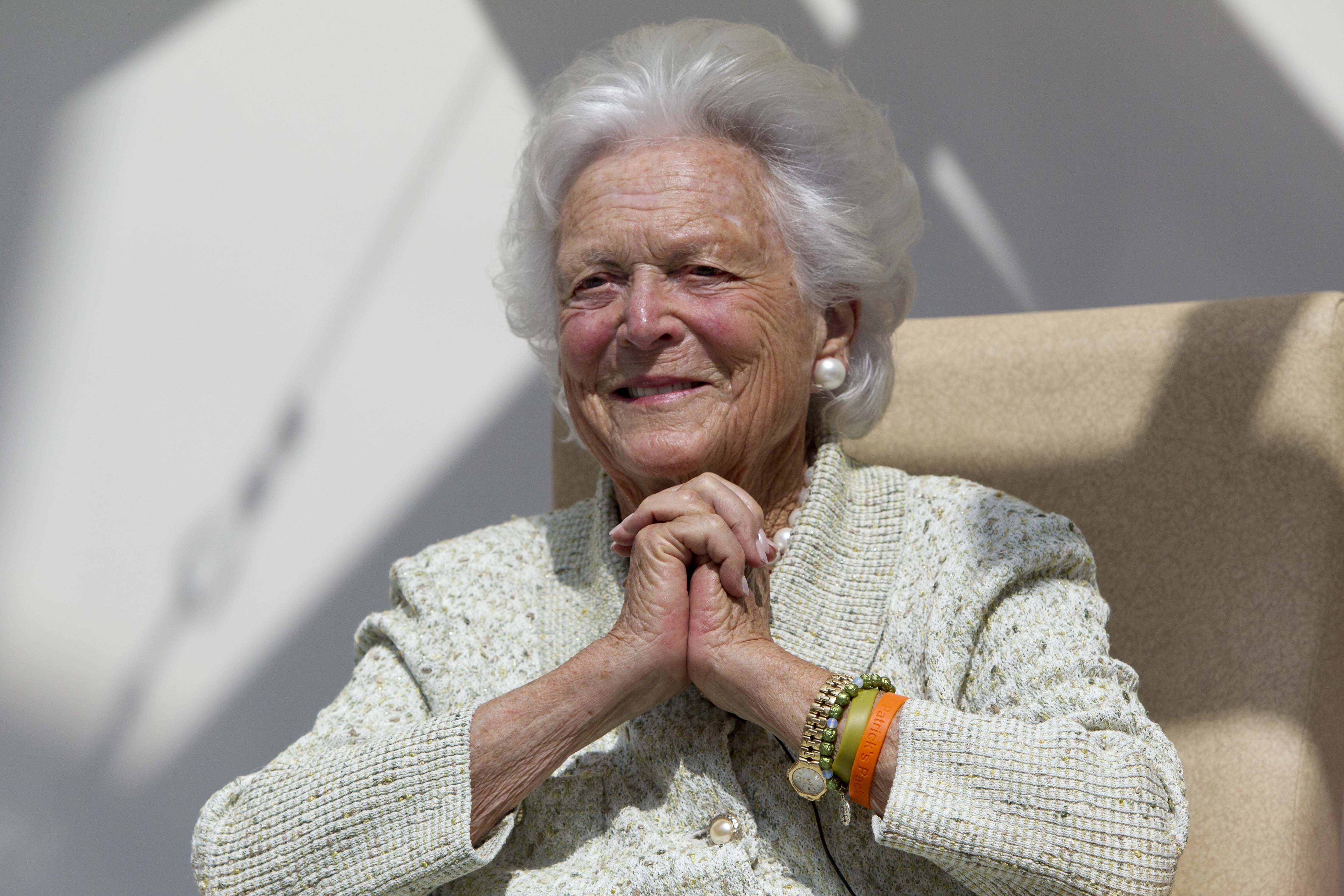 Barbara Bush, shown here on Aug. 22, 2013. The former first lady passed away on April 18, 2018.