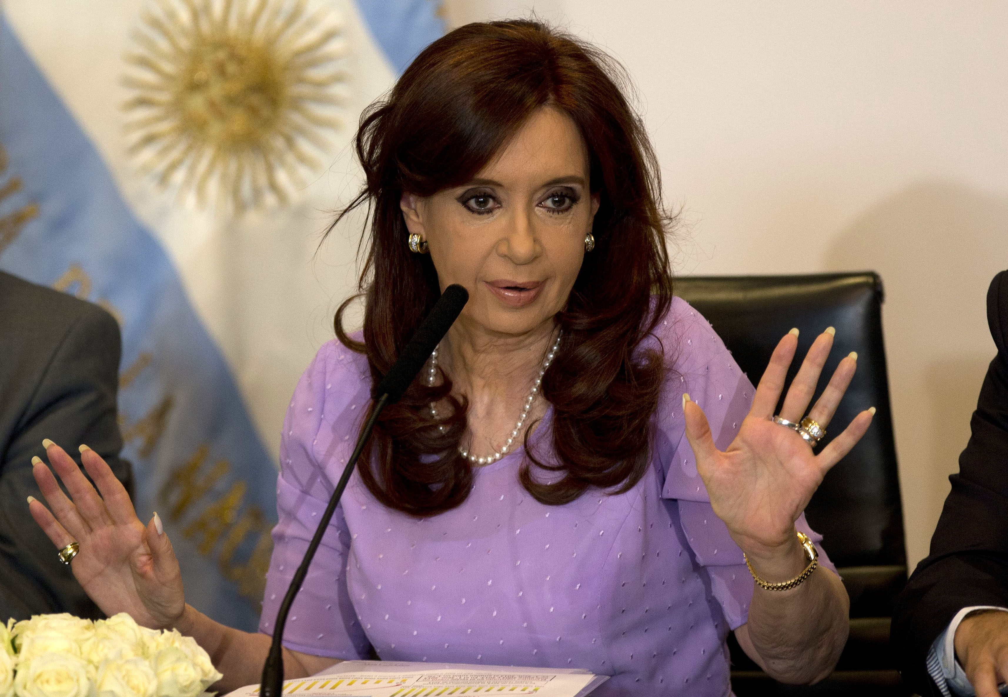 In this Feb. 11, 2015 file photo, Argentina's President Cristina Fernandez speaks during an event announcing new government projects at the government palace Casa Rosada, in Buenos Aires, Argentina.