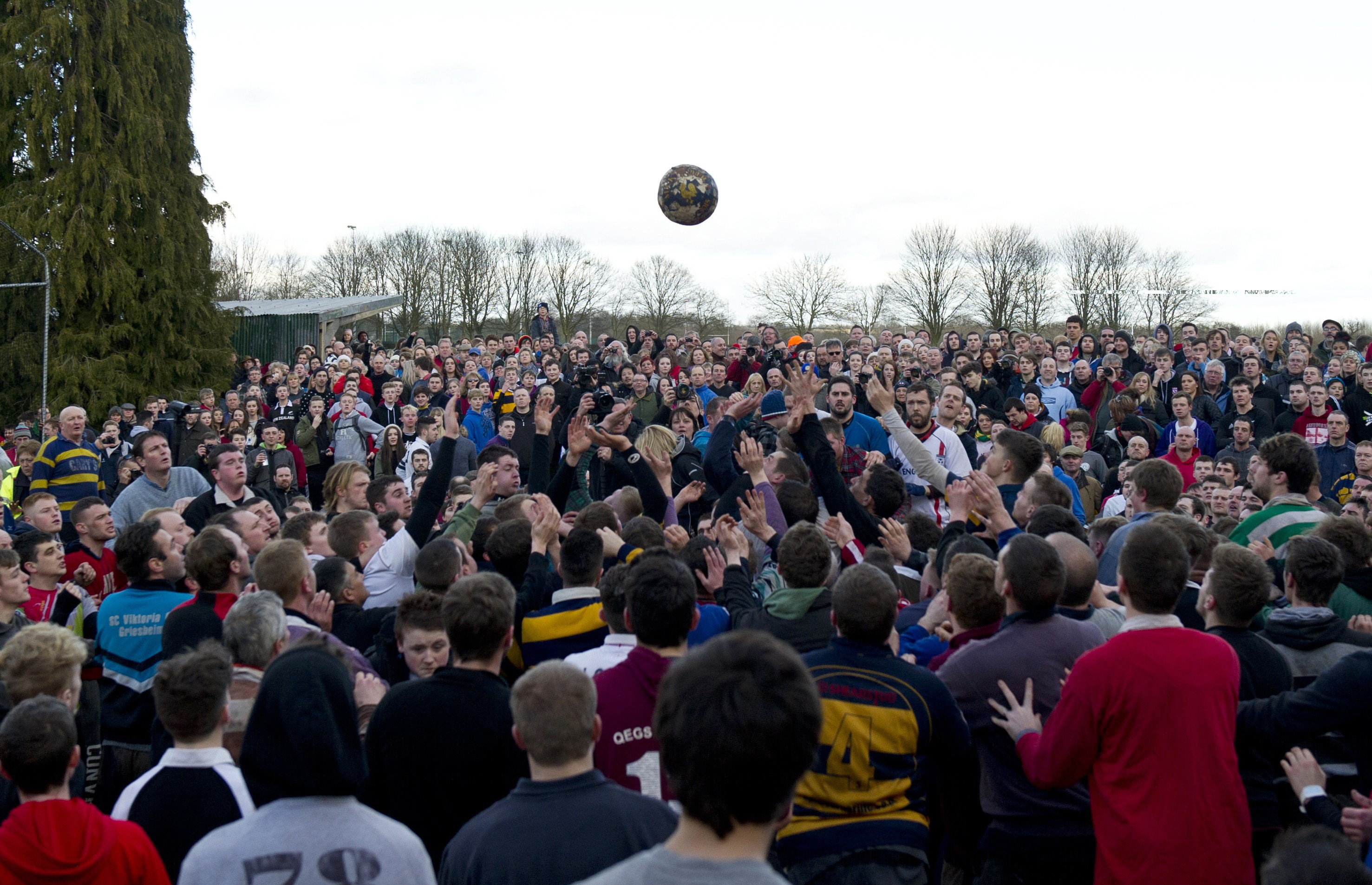 Opposing teams of the Up'ards and the Down'ards compete at the start of the annual Royal Shrovetide Football Match in Ashbourne, Derbyshire, England on February 17, 2015.