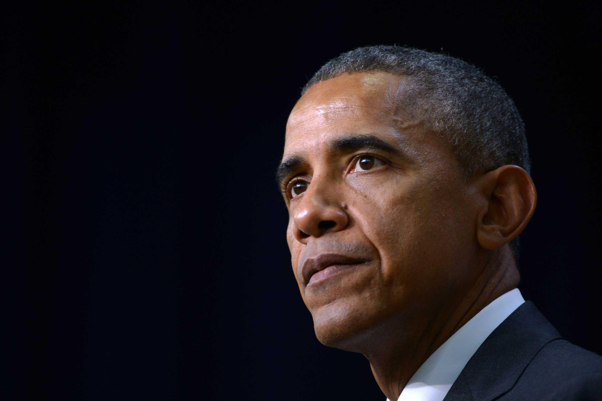 U.S. President Barack Obama speaks in Washington on Feb. 11, 2015.