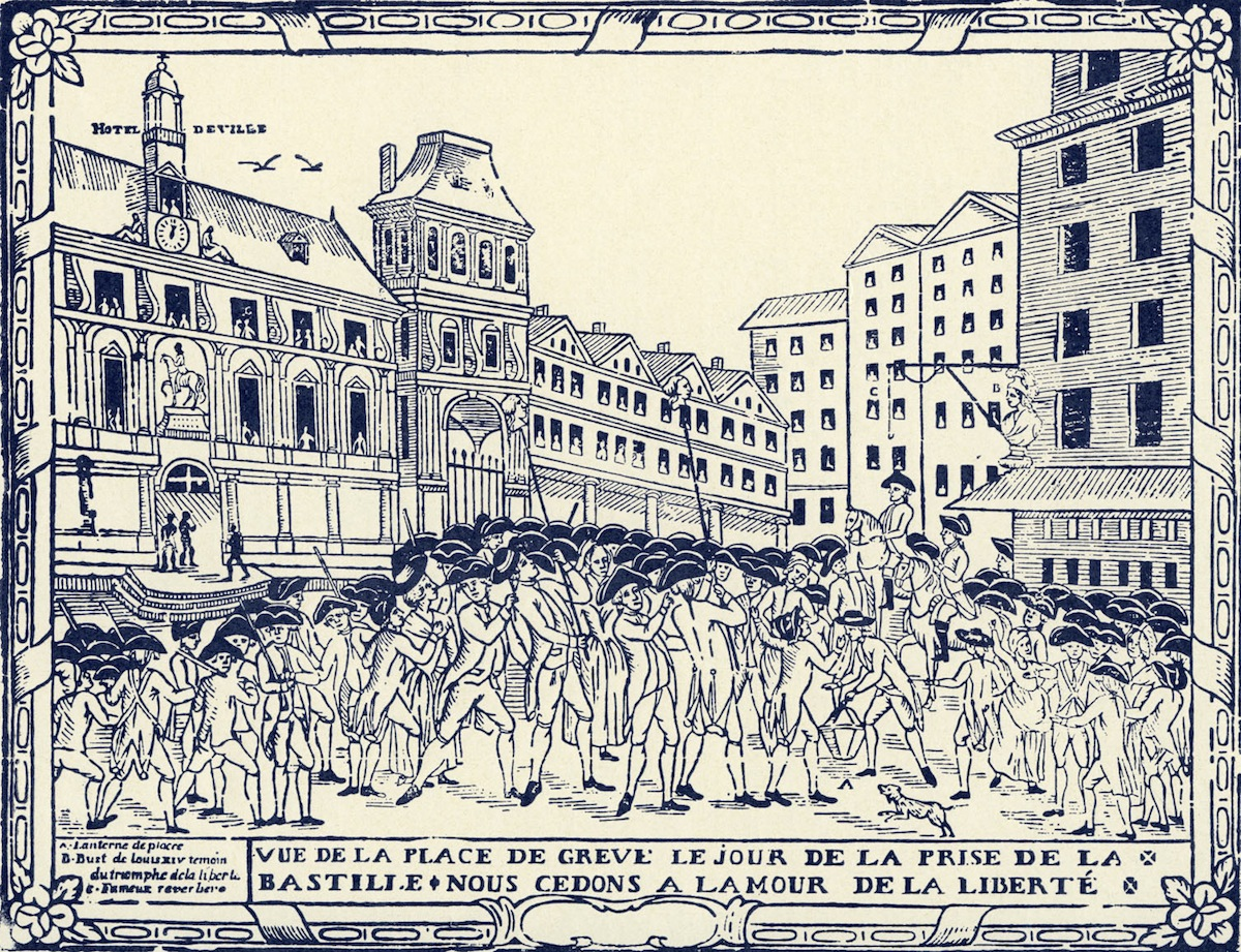 Place de Grève at the Storming of the Bastille, Jul. 14, 1789, from an 18th-century engraving by Letourmy of Orléans