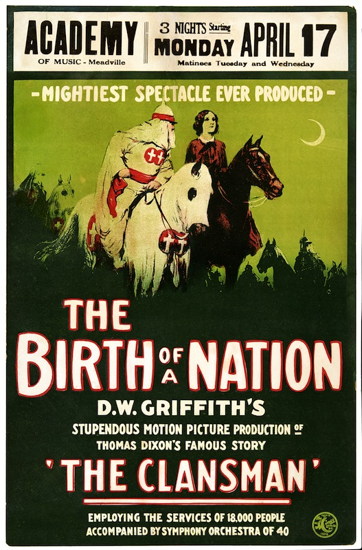 A 1915 poster advertises 'The Birth of a Nation,'
