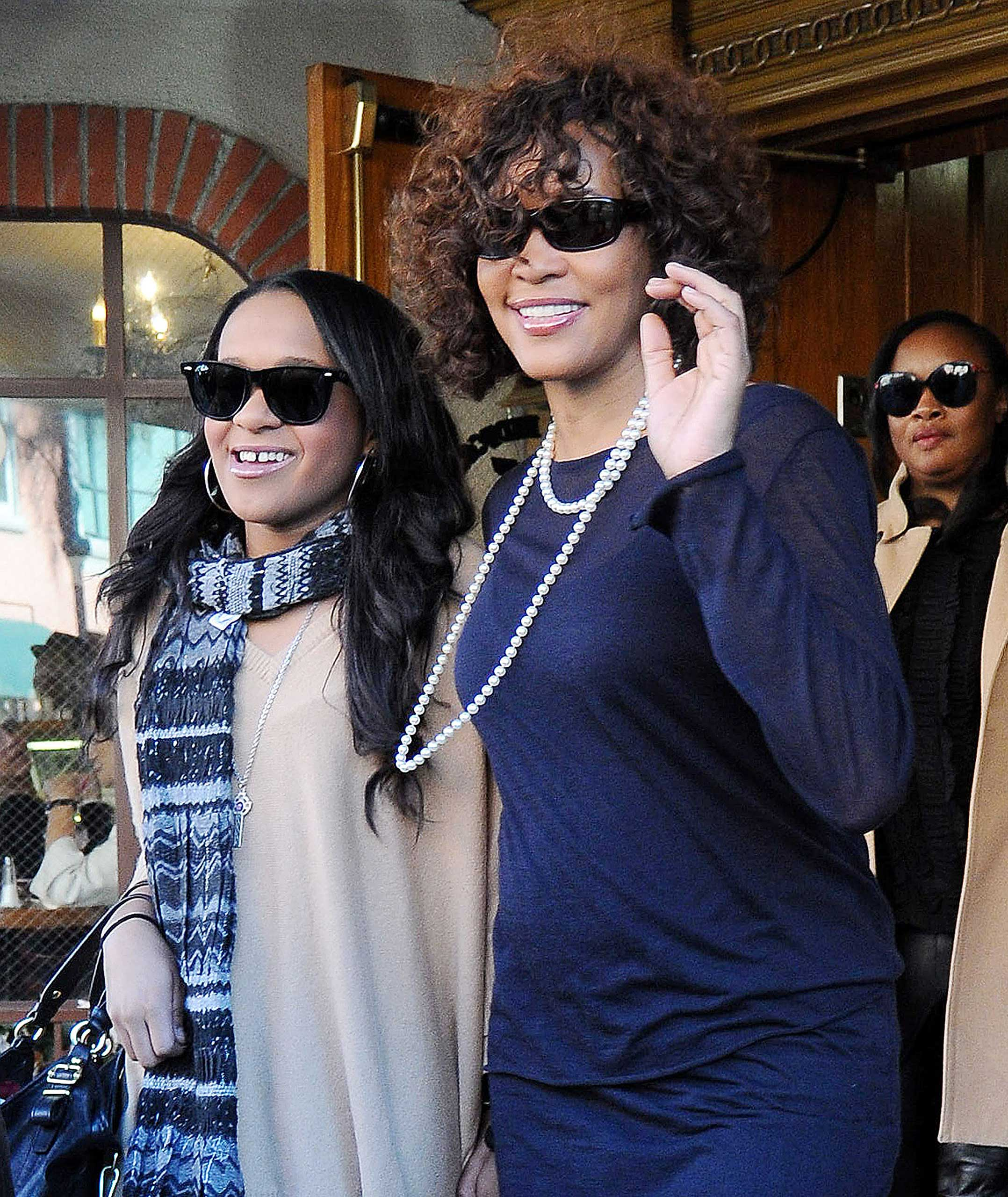 Bobbi Kristina Brown joins her mother Whitney Houston in Jan. 2012 on an outing in Beverly Hills.