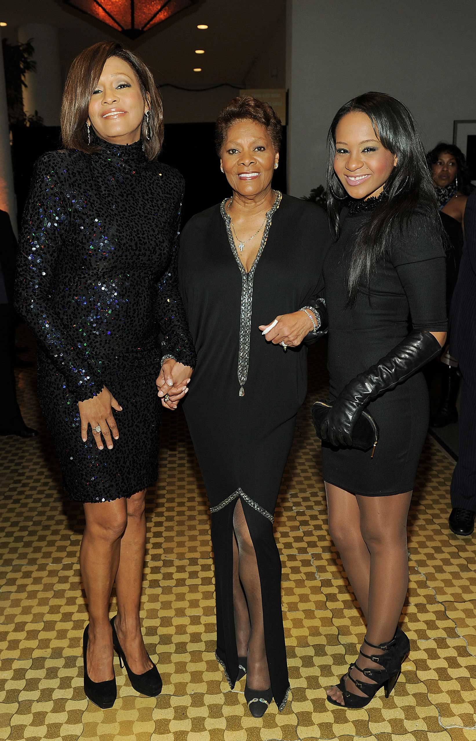 From Left: Singer Whitney Houston, Singer Dionne Warwick and Bobbi Kristina Brown arrive at the 2011 Pre-GRAMMY Gala and Salute To Industry Icons on Feb. 12, 2011 in Beverly Hills.