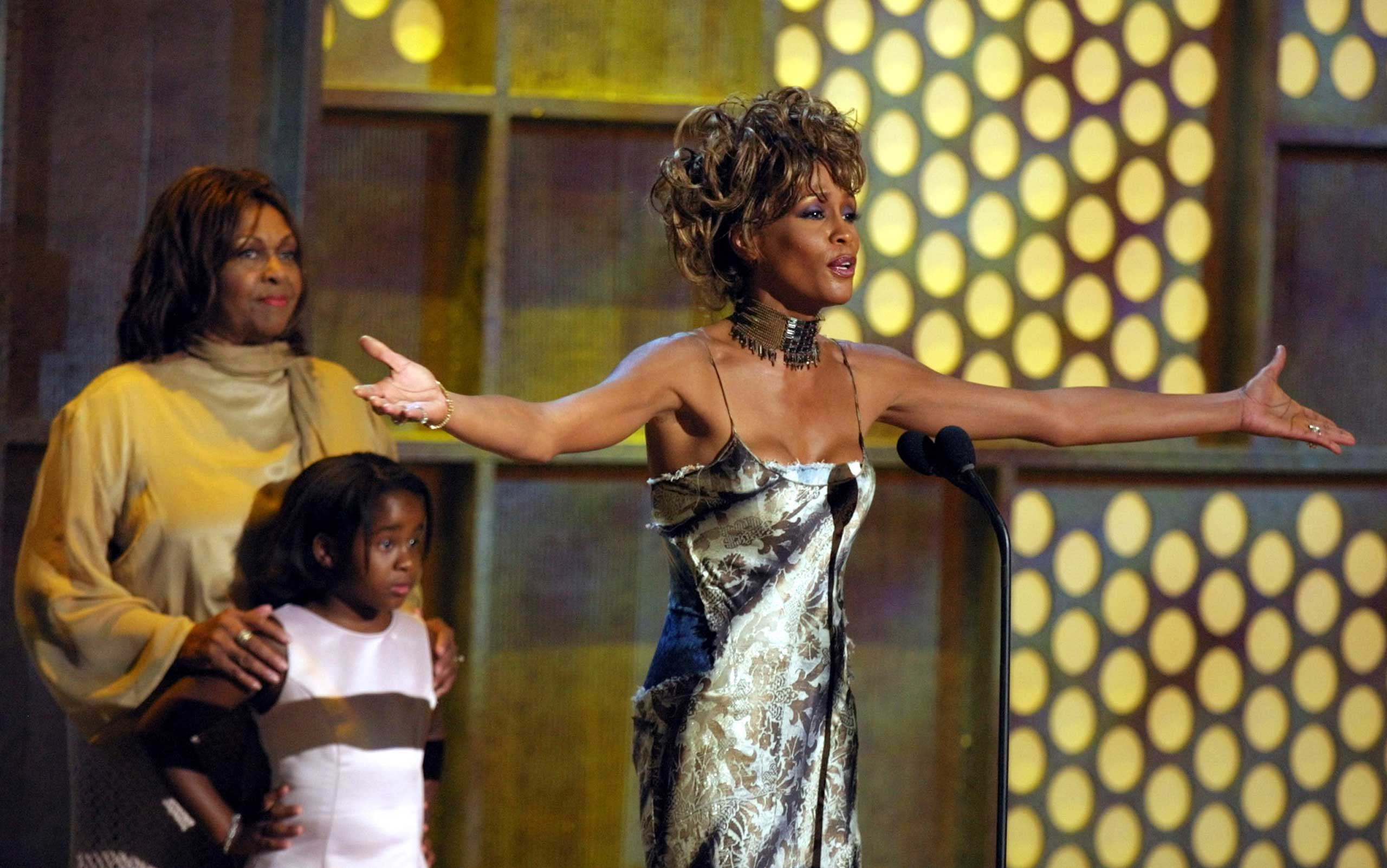 Whitney Houston accepts the Lifetime Achievement Award at the first annual Black Entertainment Television (BET) awards show at the Paris Las Vegas hotel-casino in Las Vegas on June 19, 2001.