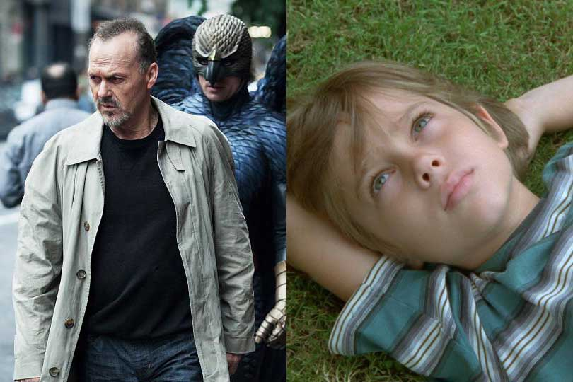 Michael Keaton in Birdman and Ellar Coltrane in Boyhood