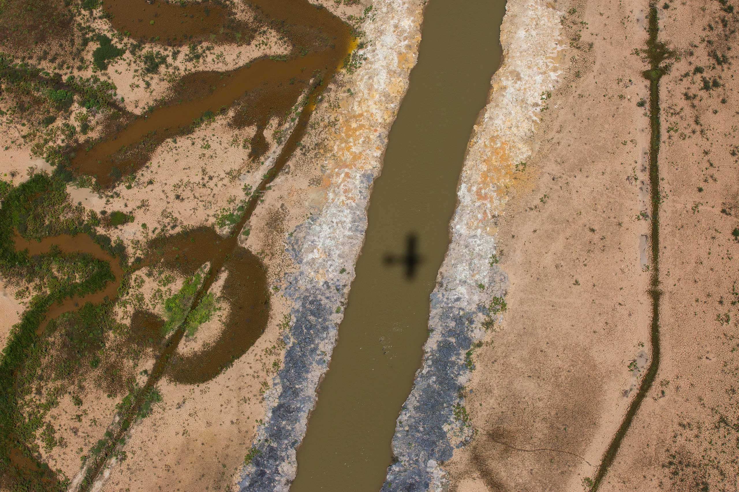 An aerial view of the Atibainha dam, part of the Cantareira reservoir, one of the main water reservoirs that supply the State of Sao Paulo, during a drought in Feb. 23, 2015 in Braganca Paulista.