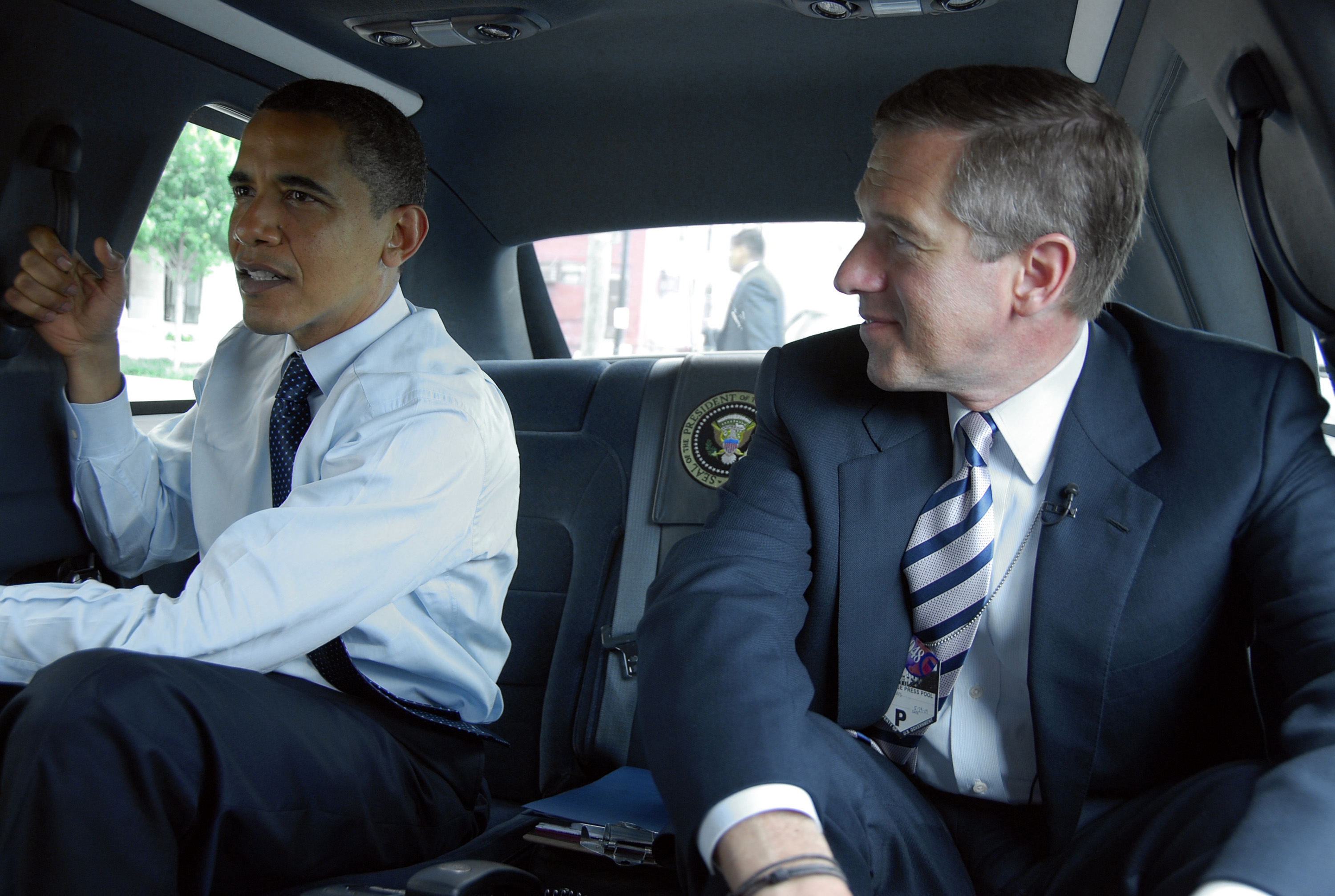 From Left: President Barack Obama and Brian Williams takes a look at what happens in the White House and the West Wing during a day in the life of the Obama administration on May 29, 2009.