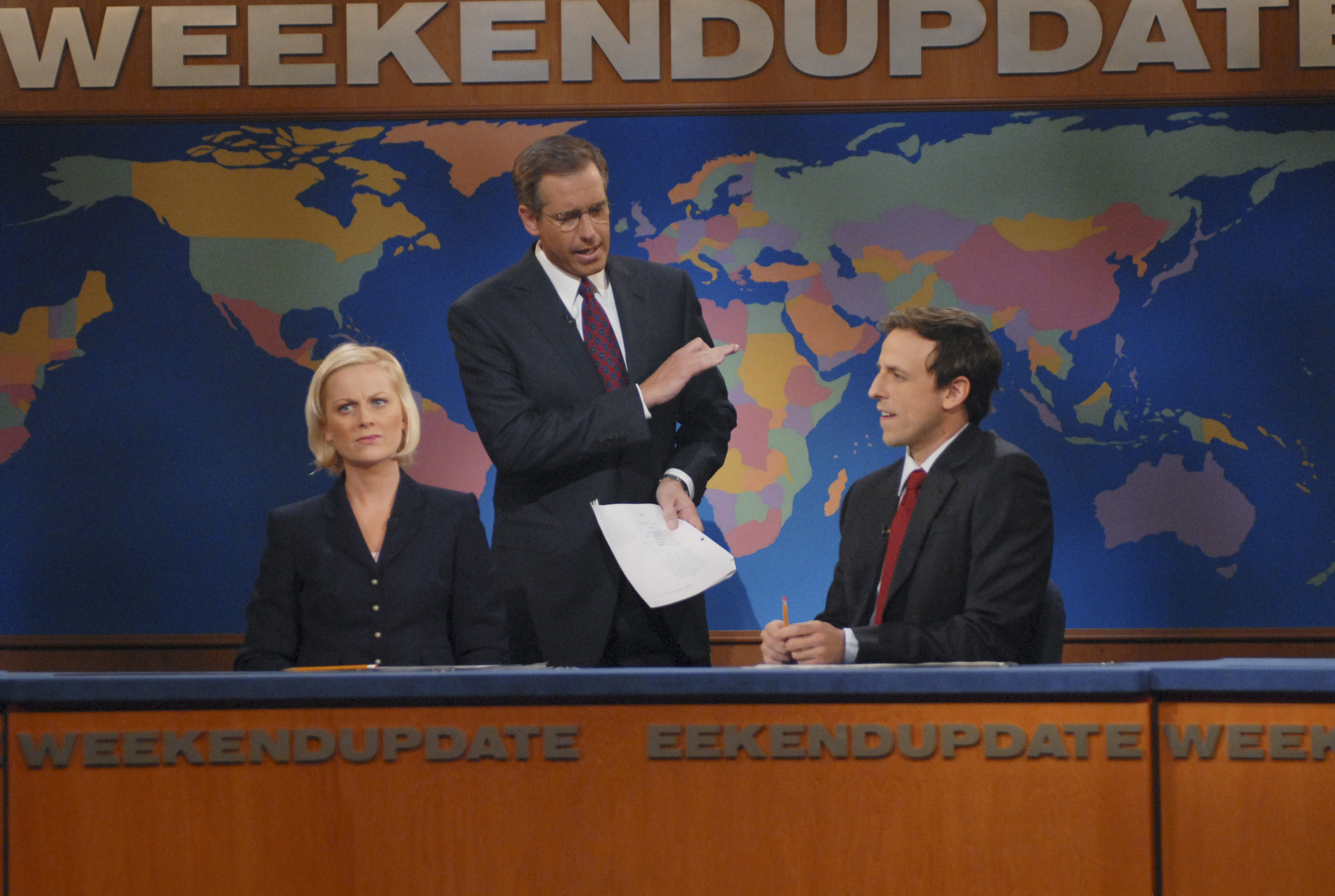From Left: Amy Poehler, Brian Williams and Seth Meyers on 'Saturday Night LIve' on Nov. 3, 2007.