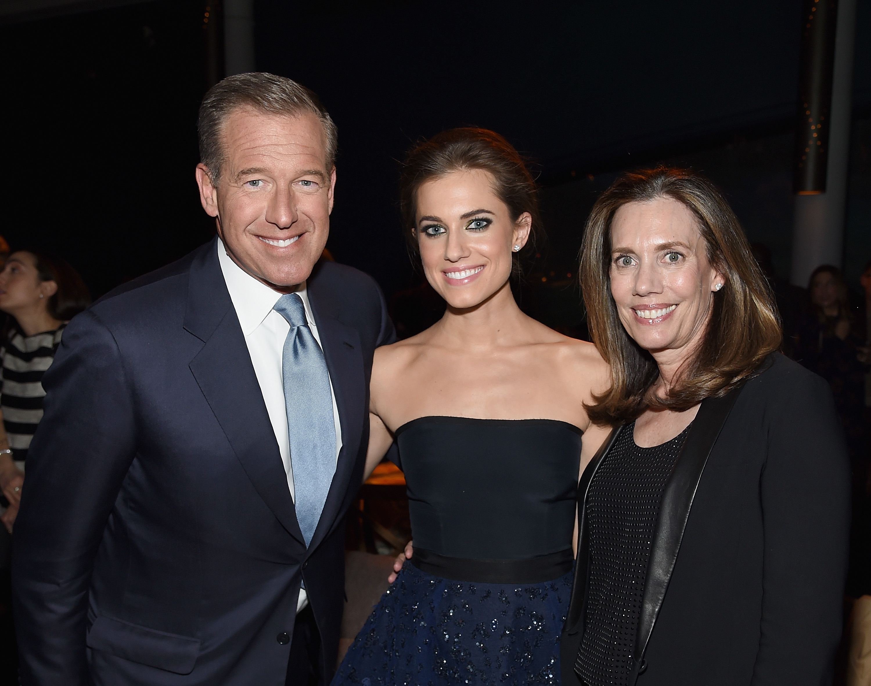 From Left: Brian Williams, Allison Williams and Jane Stoddard Williams  attend the  Girls  season four series premiere after party at The Museum of Natural History on Jan. 5, 2015.