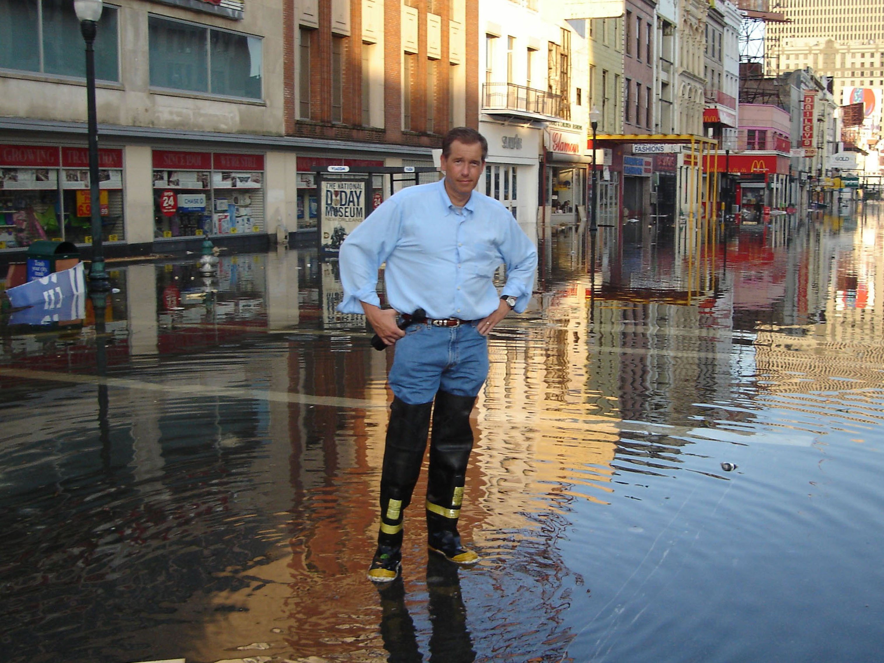 Brian Williams during a break in the  NBC Nightly News with Brian Williams  show in the aftermath of Hurricane Katrina in New Orleans in 2005.