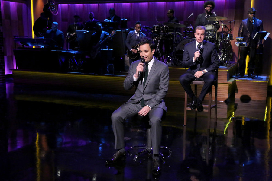 Jimmy Fallon and Brian Williams  Slow Jam the News  on 'The Tonight Show With Jimmy Fallon' on Dec. 2, 2014.