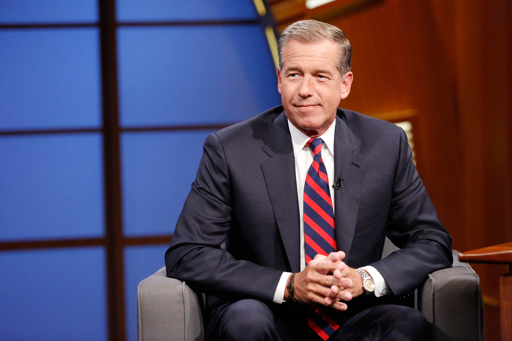 Brian Williams during an interview on Late Night With Seth Meyers on July 7, 2014.