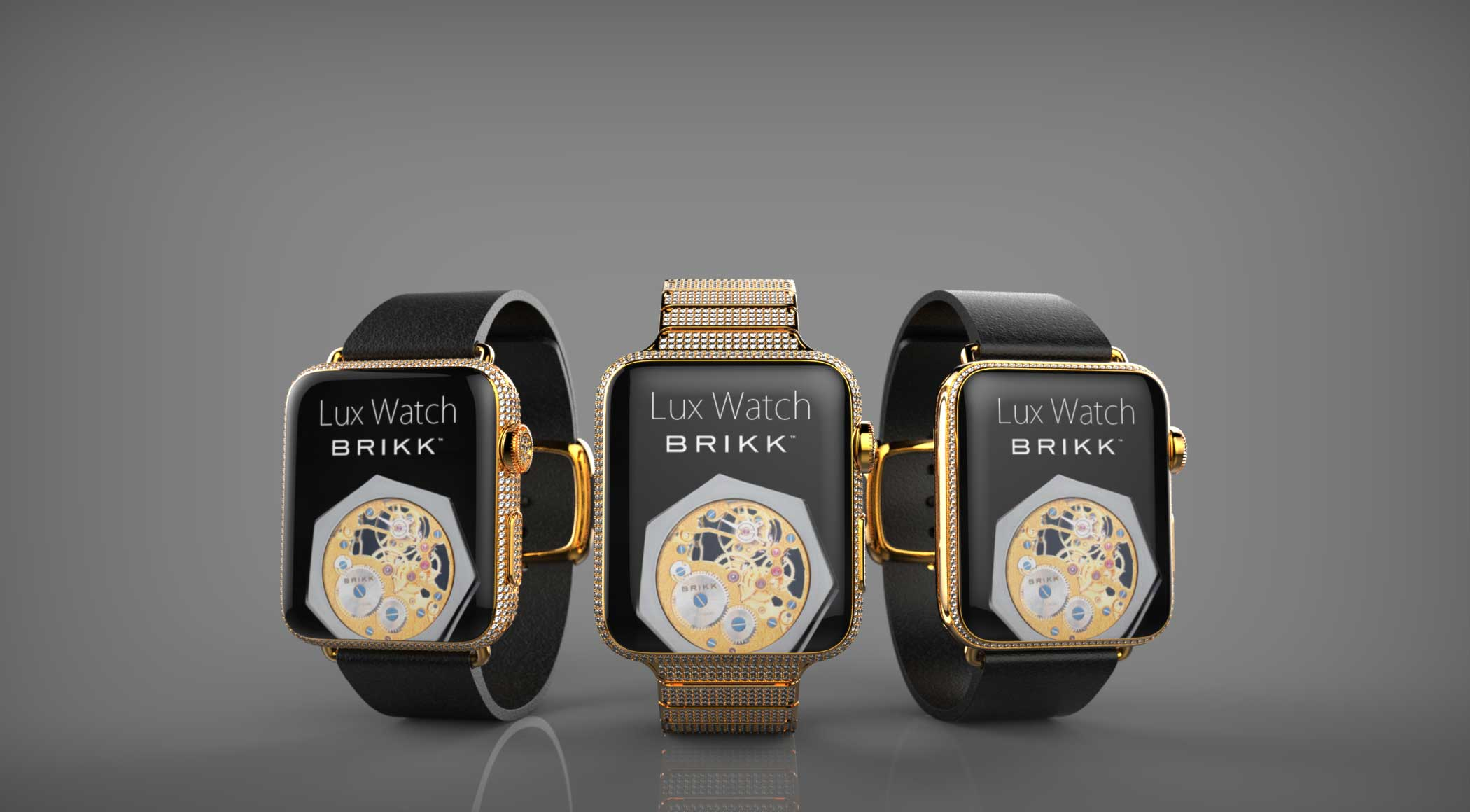 (left to right) <strong>$13,000</strong> Lux Watch Deluxe Yellow Gold, <strong>$75,000</strong> Lux Watch Omni Yellow Gold, <strong>$7,500</strong> Lux Watch Standard Yellow Gold