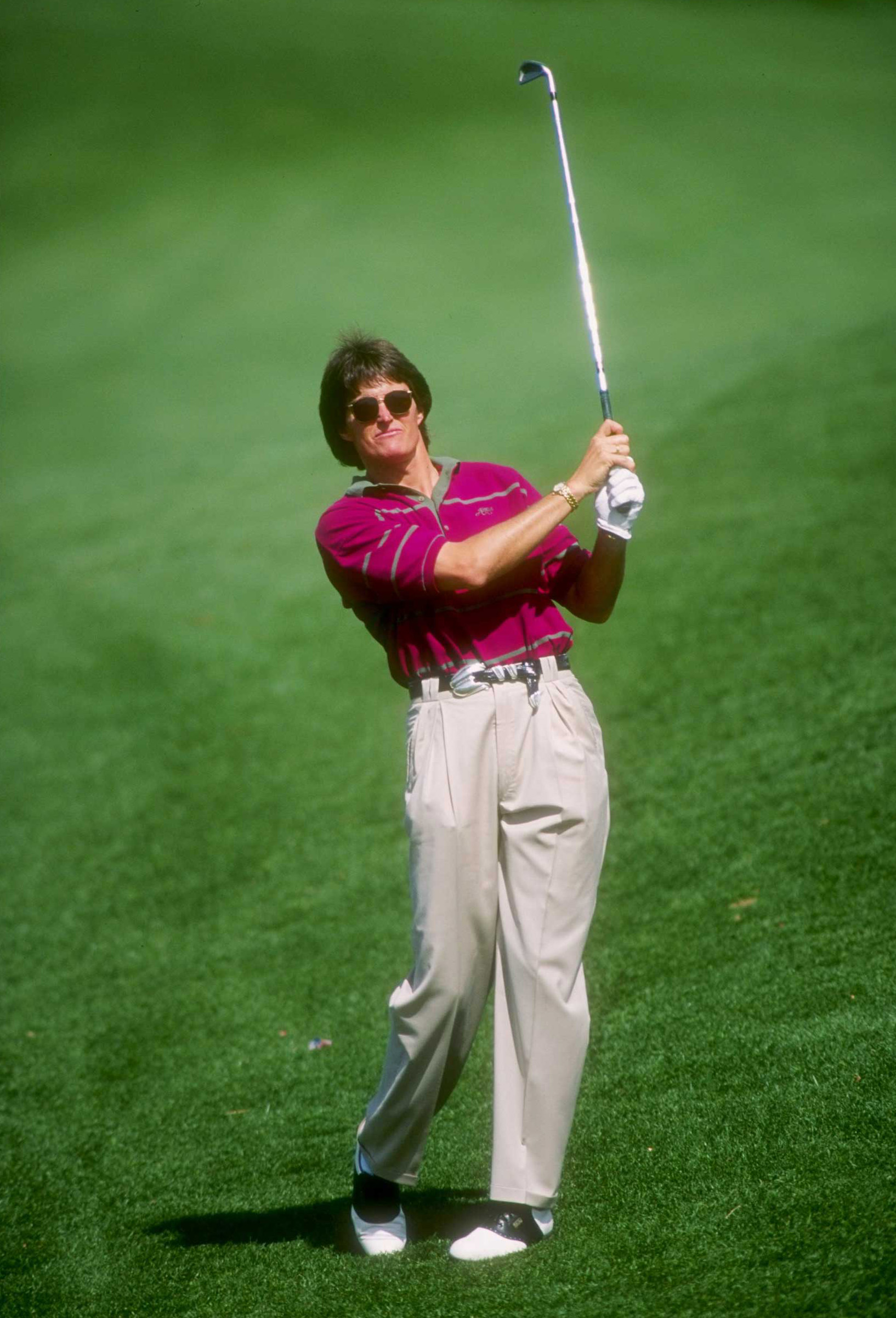 After his sports career, Jenner, seen here at a celebrity golf event in 1993, had a number of small acting jobs and television appearances.
