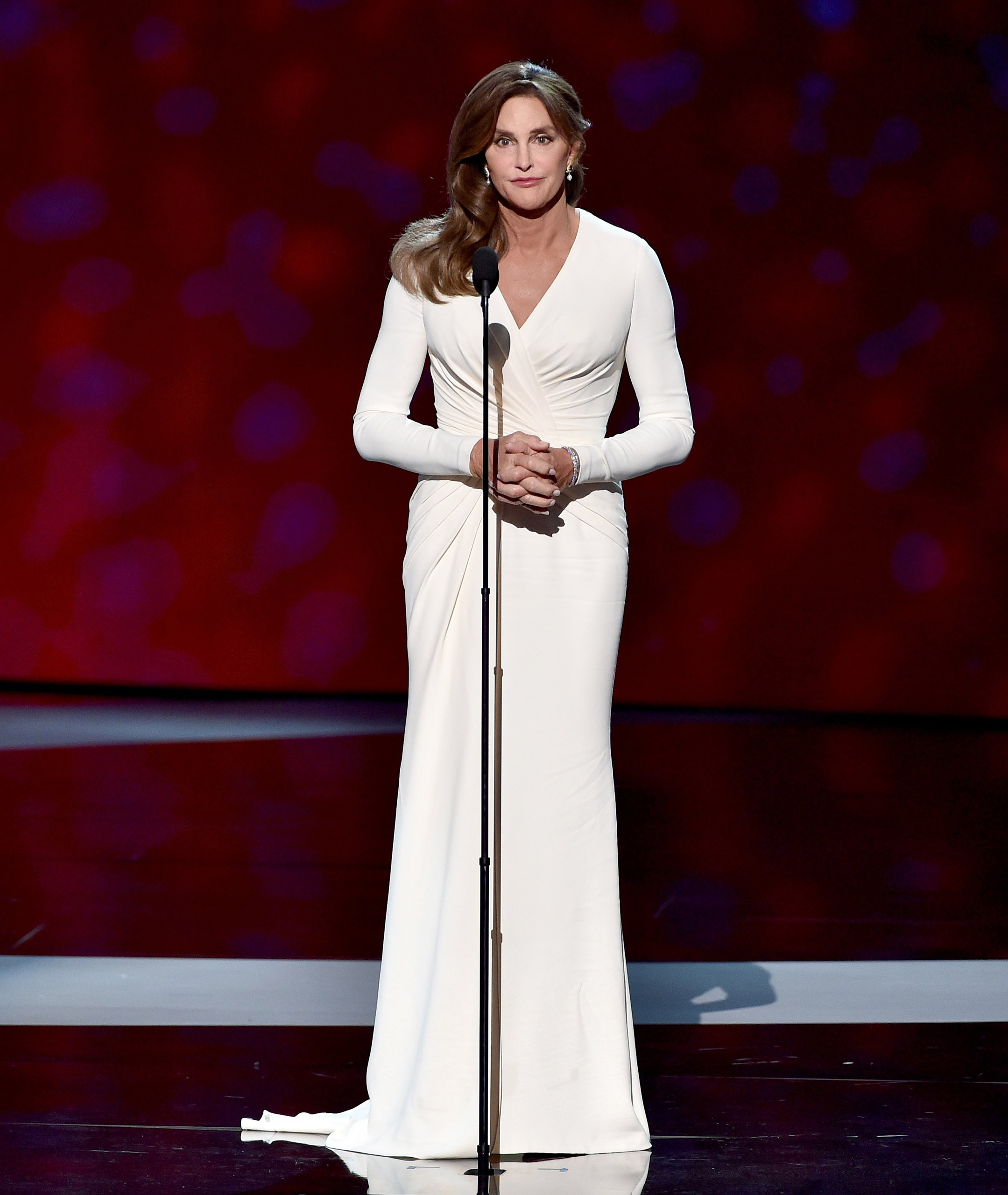 Caitlyn Jenner accepts the Arthur Ashe Courage Award onstage during The 2015 ESPYS at Microsoft Theater on July 15, 2015 in Los Angeles.