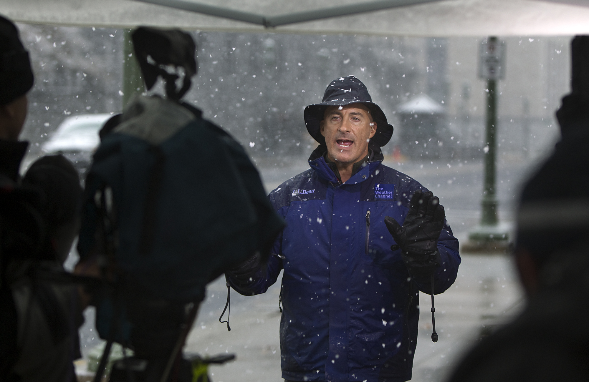 The Weather Channel host, Jim Cantore, goes live from Commonwealth Ave behind the Pennsylvania State Capitol Saturday, Oct. 29, 2011 in Harrisburg, PA