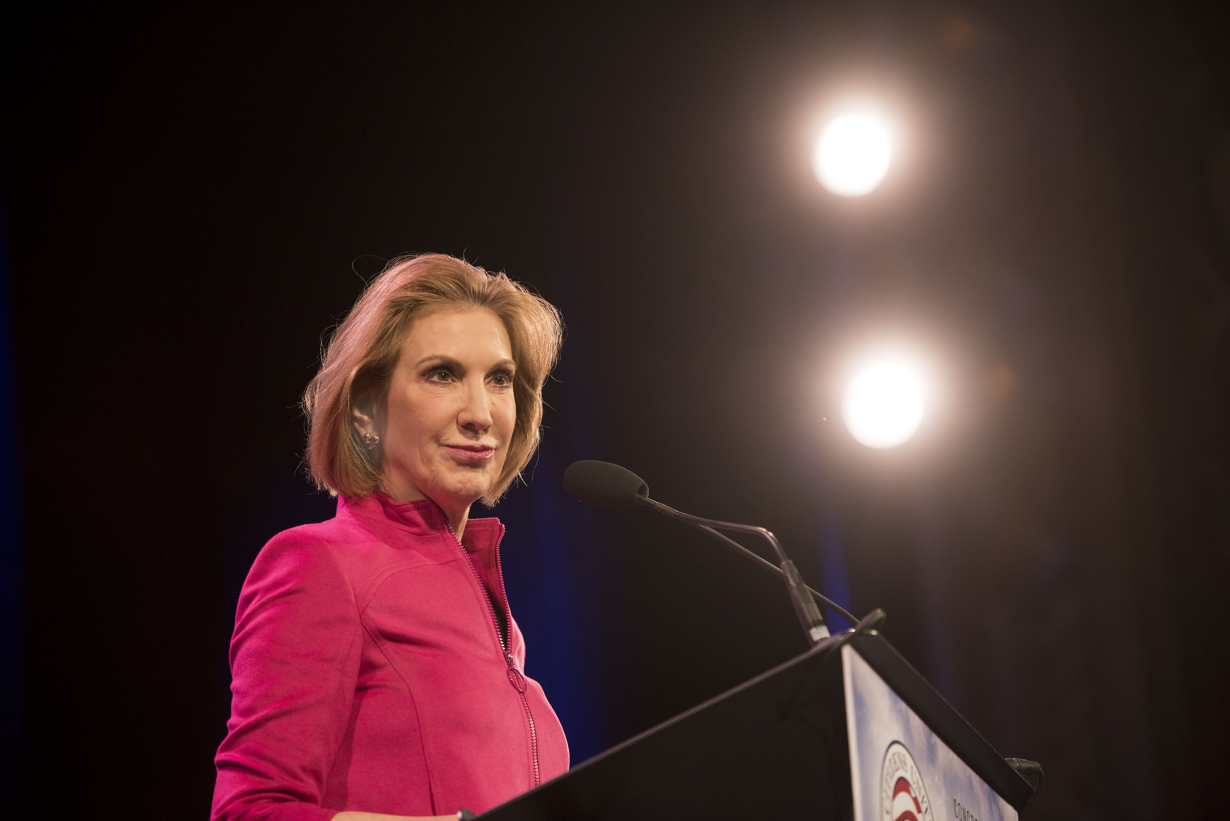 Carly Fiorina, former chairman and chief executive officer of Hewlett-Packard Co., during the Iowa Freedom Summit in Des Moines, Iowa on Jan. 24, 2015.