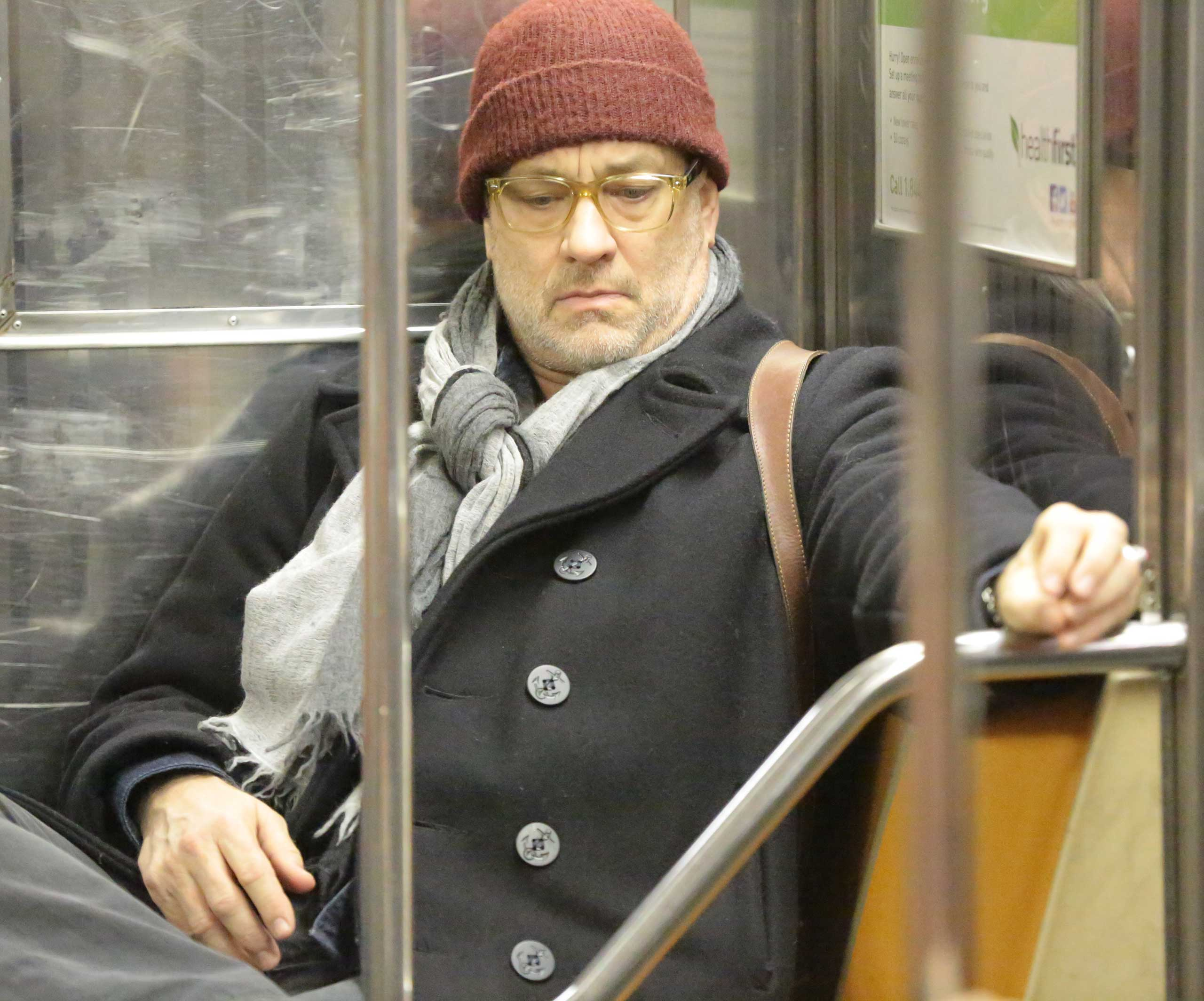 Tom Hanks rides the subway in New York City on Jan. 22, 2015.