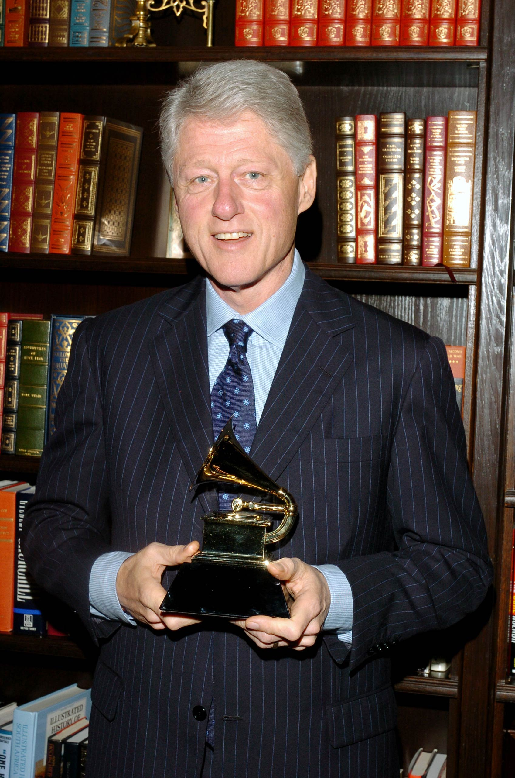 Bill Clinton Presented with His GRAMMY Award for Best Spoken Word Album for  My Life  - February 17, 2005