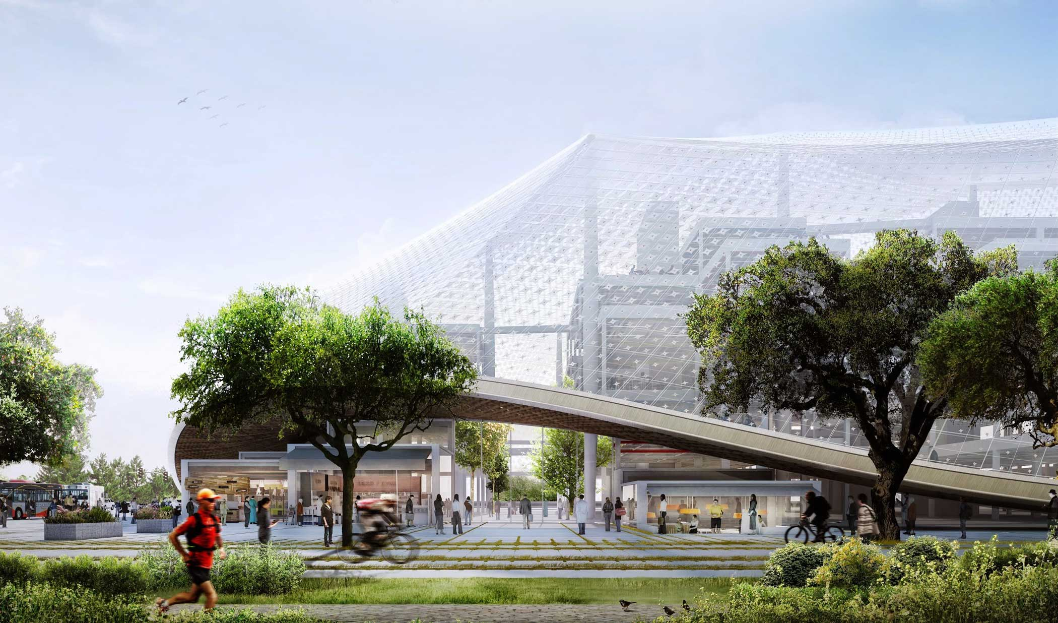 This rendering shows the northwest corner of the proposed Charleston South building.                                                                      Large, translucent enclosures blur the boundaries between inside and out. These canopies regulate climate, pollution, and sound, while freeing spaces from traditional architectural limitations like walls, windows and roofs.                                                                      Cafes and local shops on the lower levels open into interior open walkways under the canopy.