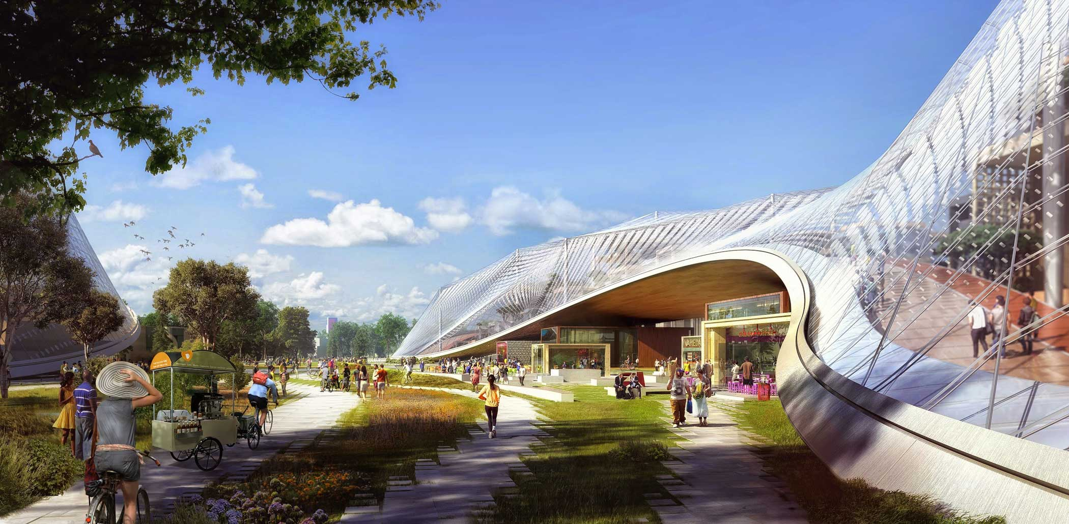 In this rendering, Huff Avenue is transformed into a soft grid for pedestrians and bikes.                                                                      The building's translucent canopy lifts up to allow the public Green Loop to go through the center of the building, with cafes and local shops on the lower levels.
