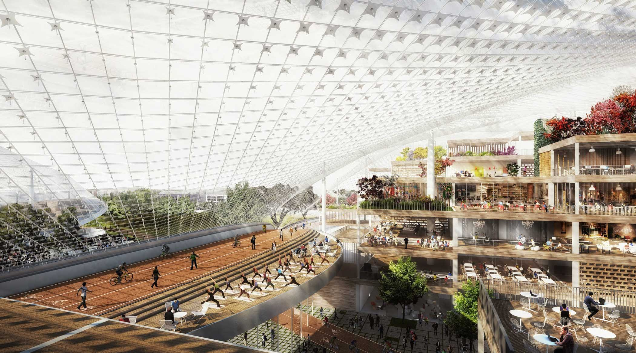 This rendering shows the inside of the proposed Charleston South building looking west.                                                                      Within the canopy, building segments operate like furniture—light, tactile and reconfigurable. These segments form small villages where employees can work or relax.                                                                      The Green Loop goes through the building. The rim of the canopy provides structure as well as biking and walking paths.