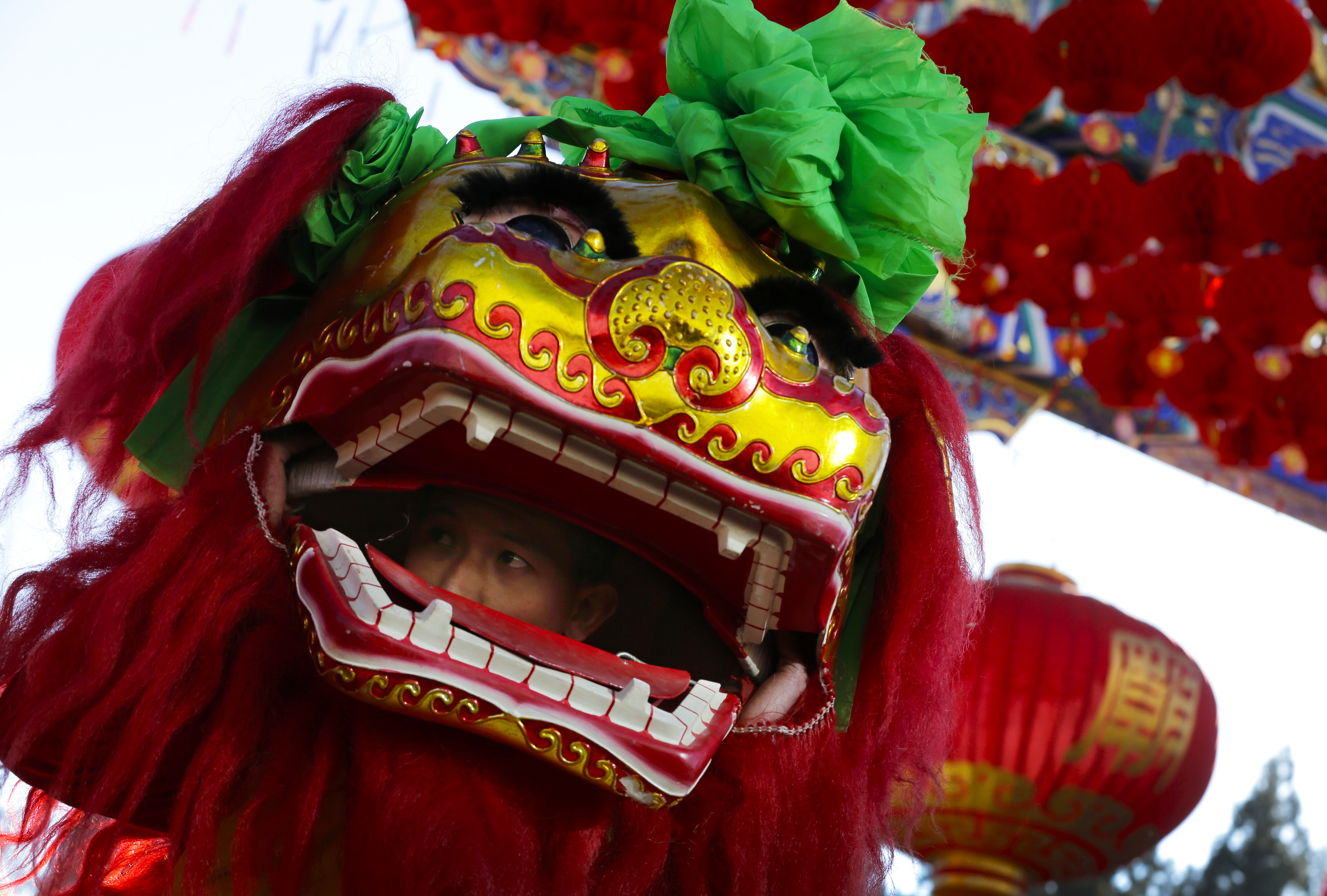 A performer looks out from the head of a lion dance costume during the opening of Ditan Temple Fair on the Lunar New Year's Eve in Beijing, China Wednesday, Feb. 18, 2015
