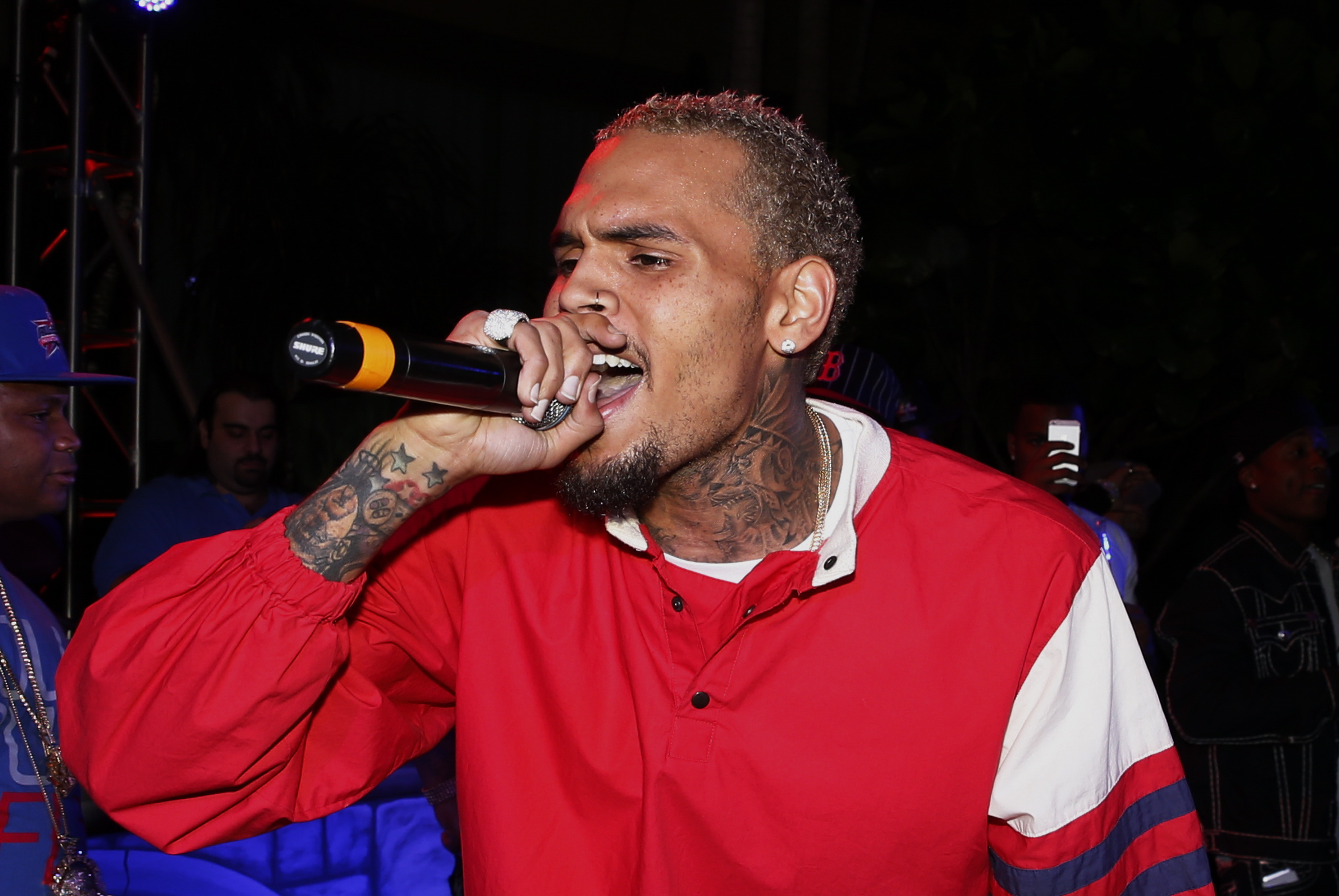 Chris Brown performs at The Pool After Dark at Harrah's Resort on  Oct. 25, 2013 in Atlantic City, New Jersey.