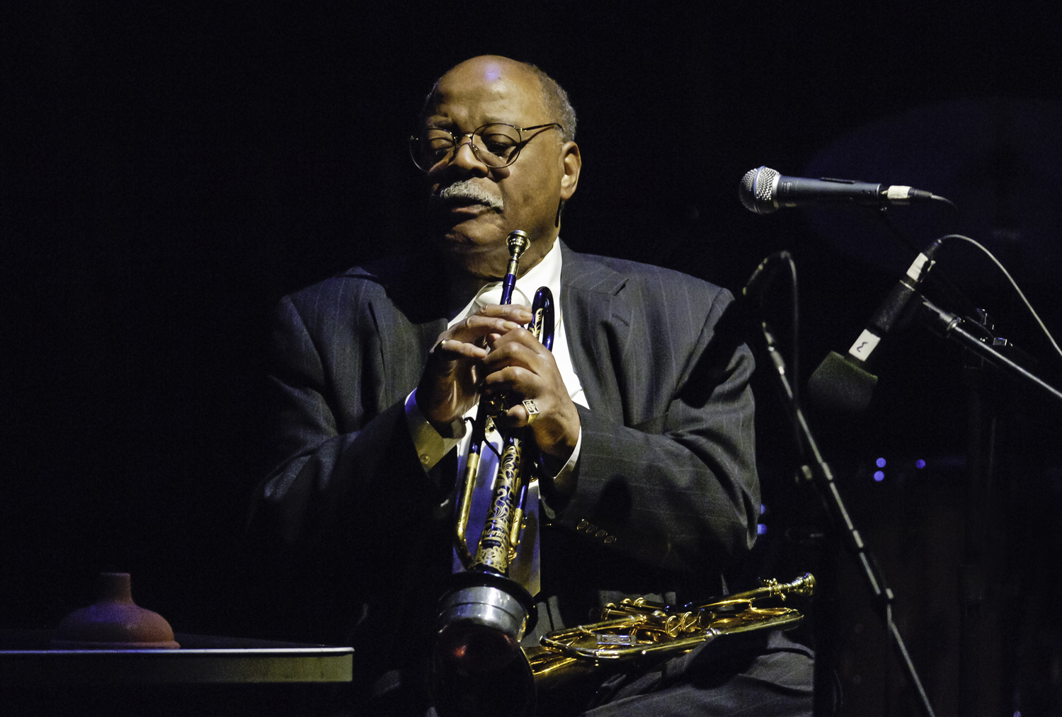 American Jazz musician Clark Terry performs on trumpet and flluegelhorn at Jack Kleinsinger's Highlights during a  Salute to Jimmy Cobb  at the Tribeca Performing Arts Center in New York City on March 10, 2005.