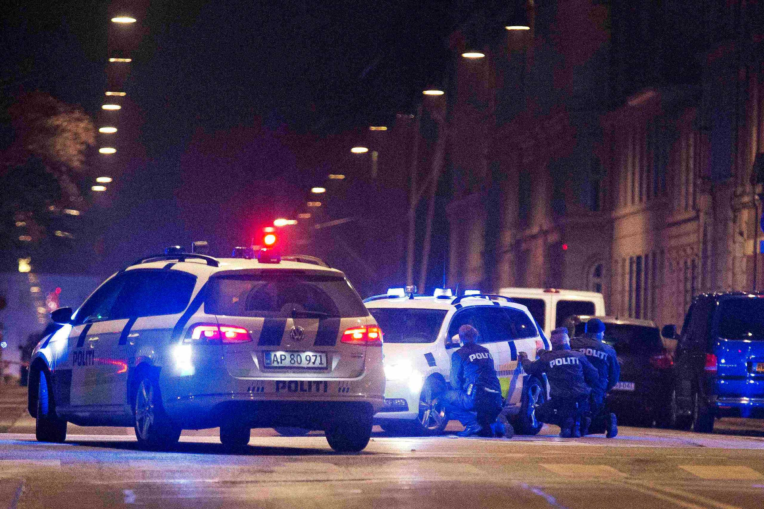 Police personnel and vehicles are seen along a street in central Copenhagen, early Feb. 15, 2015 following shootings at a synagogue in Krystalgade.