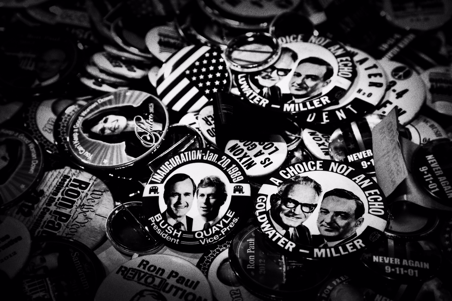 Buttons for past Republican campaigns on display at CPAC in National Harbor, Md. on Feb. 26, 2015.
