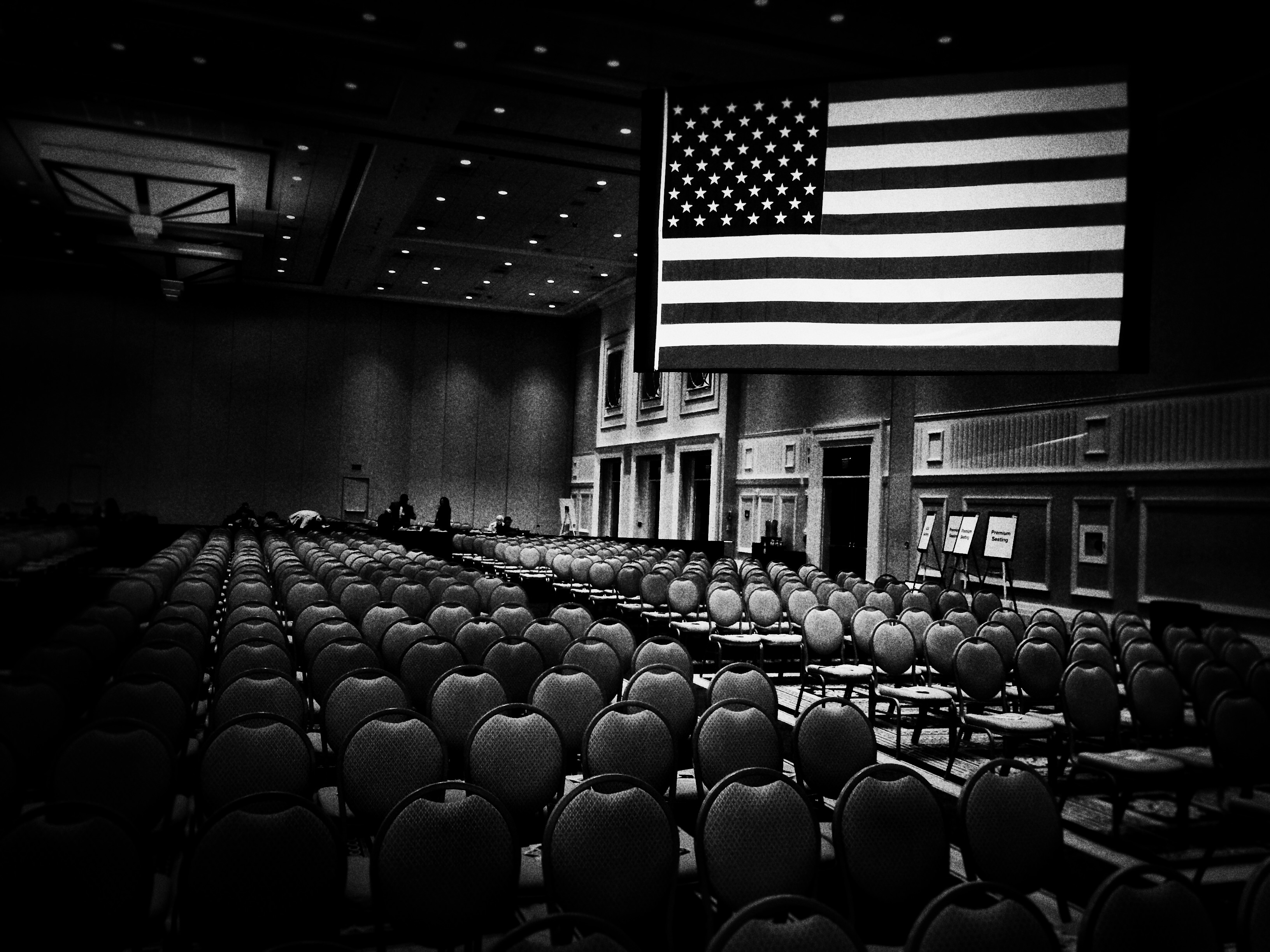 An empty room ready for the Conservative Political Action Conference in National Harbor, Md., on Feb. 26, 2015.
