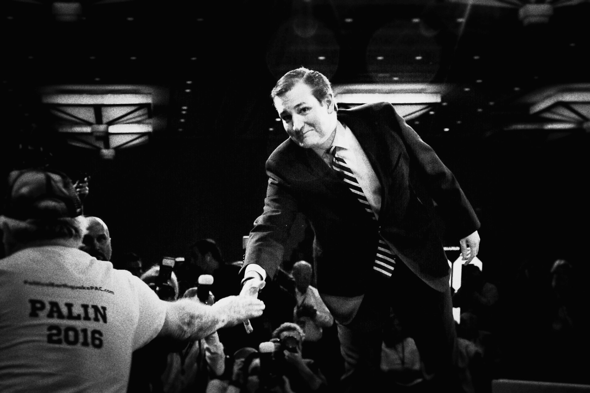 Sen. Ted Cruz shakes hands with a Sarah Palin supporter at CPAC in National Harbor, Md. on Feb. 26, 2015.