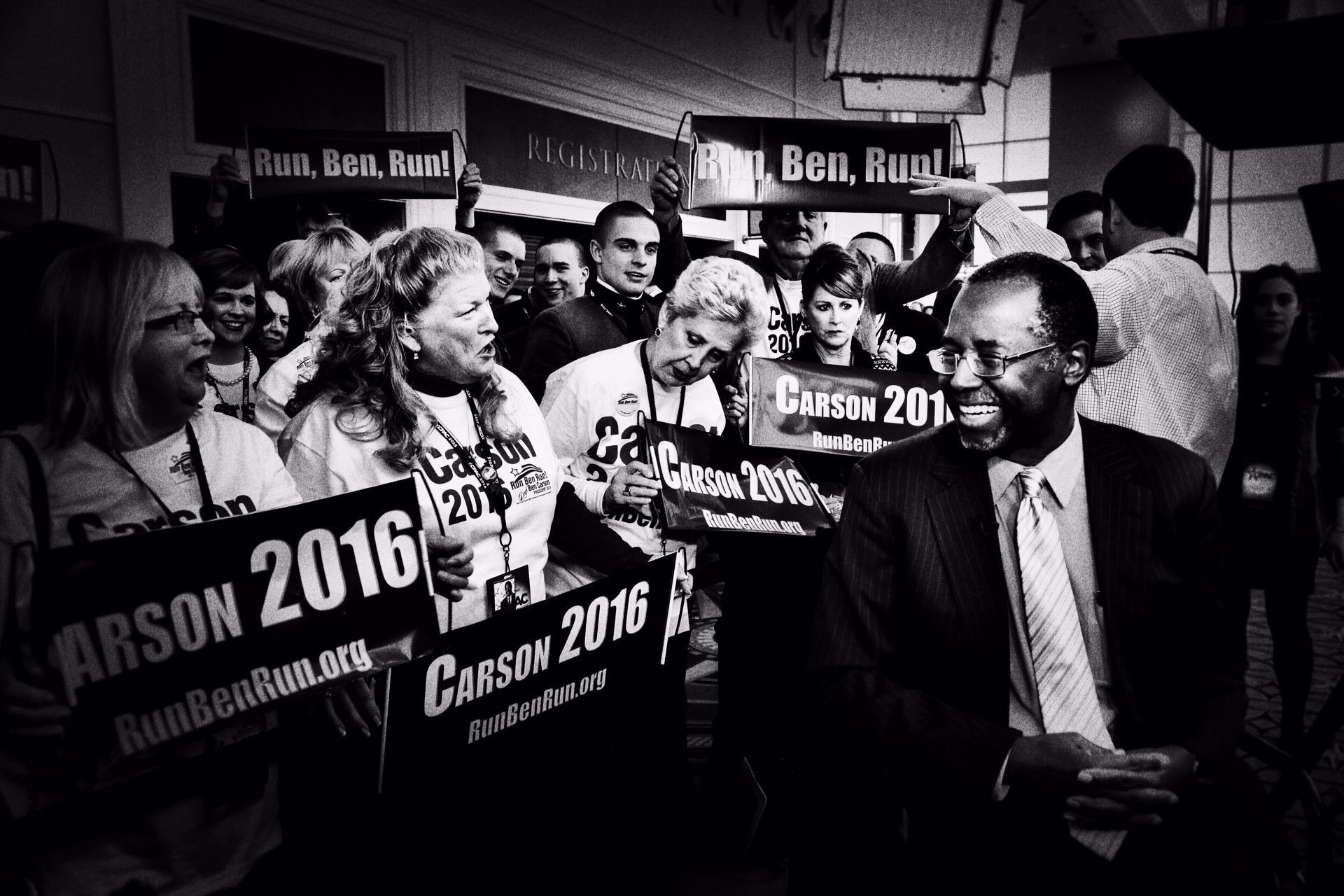 Retired neurosurgeon Dr. Ben Carson greets supporters at CPAC in National Harbor, Md., on Feb. 26, 2015.