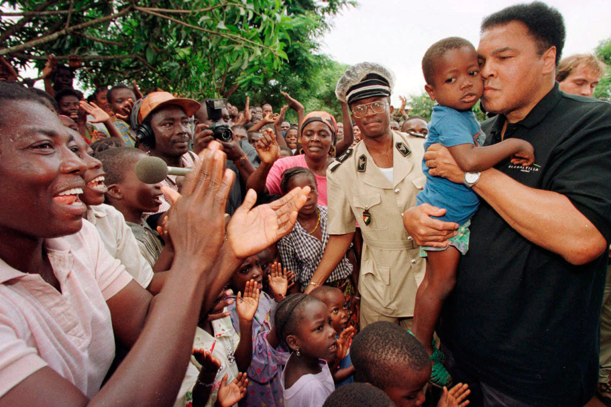 """Ali in San Pedro, Ivory Coast, 1997                               Ann Curry:  This man has committed himself in a way most people don't fully realize. I think it's hard to quantify humanitarian impact. You win a title, and they give you a fancy belt and your name up in lights. When you make children less hungry, when you ease suffering, when you make people less afraid, when you increase equality in the world, there's not as much fanfare or attention, but the impact actually is deeper and long lasting. I'm here to say that and stand up for him on his 70th birthday.""""                                Ann Curry is a news journalist, NBC Today show anchor and Dateline NBC host."""