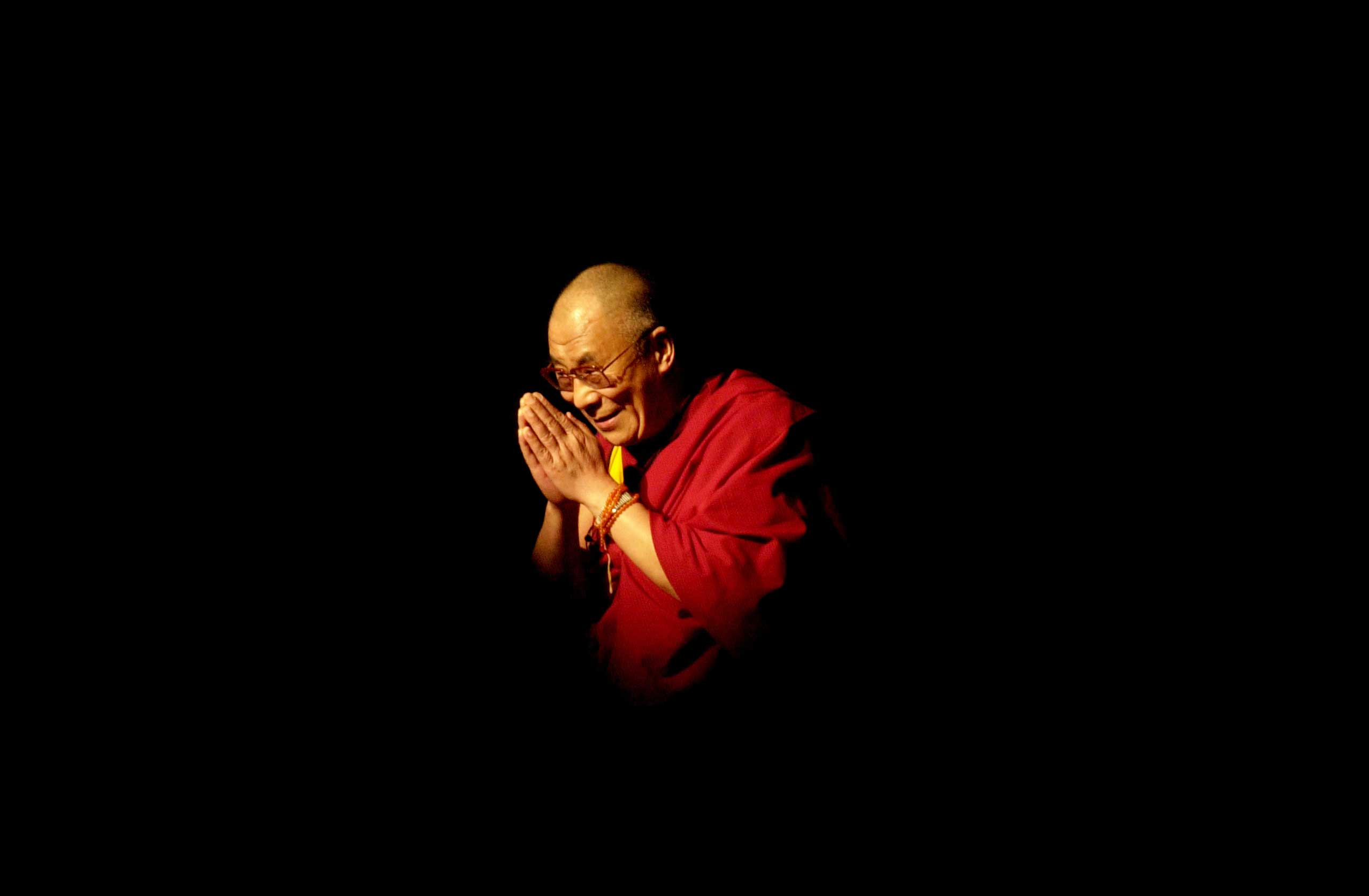 The Dalai Lama makes an appearance at the University of California, Los Angeles in May 2001.
