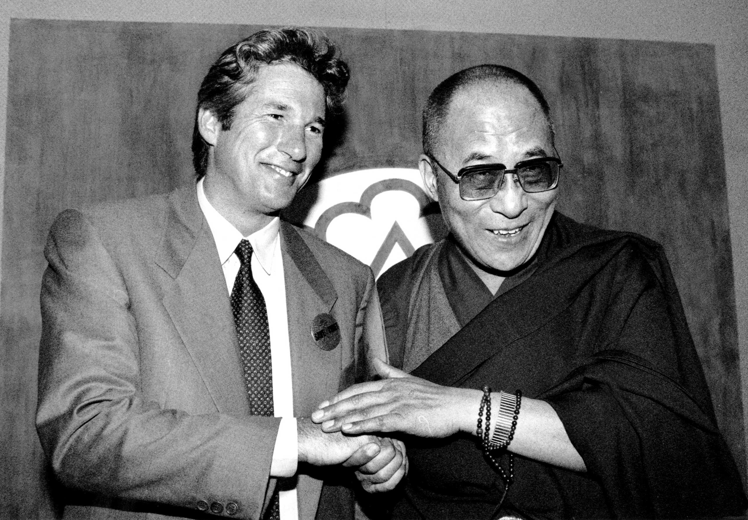 The Dalai Lama and his loyal follower, actor Richard Gere, in New York in September 1990.