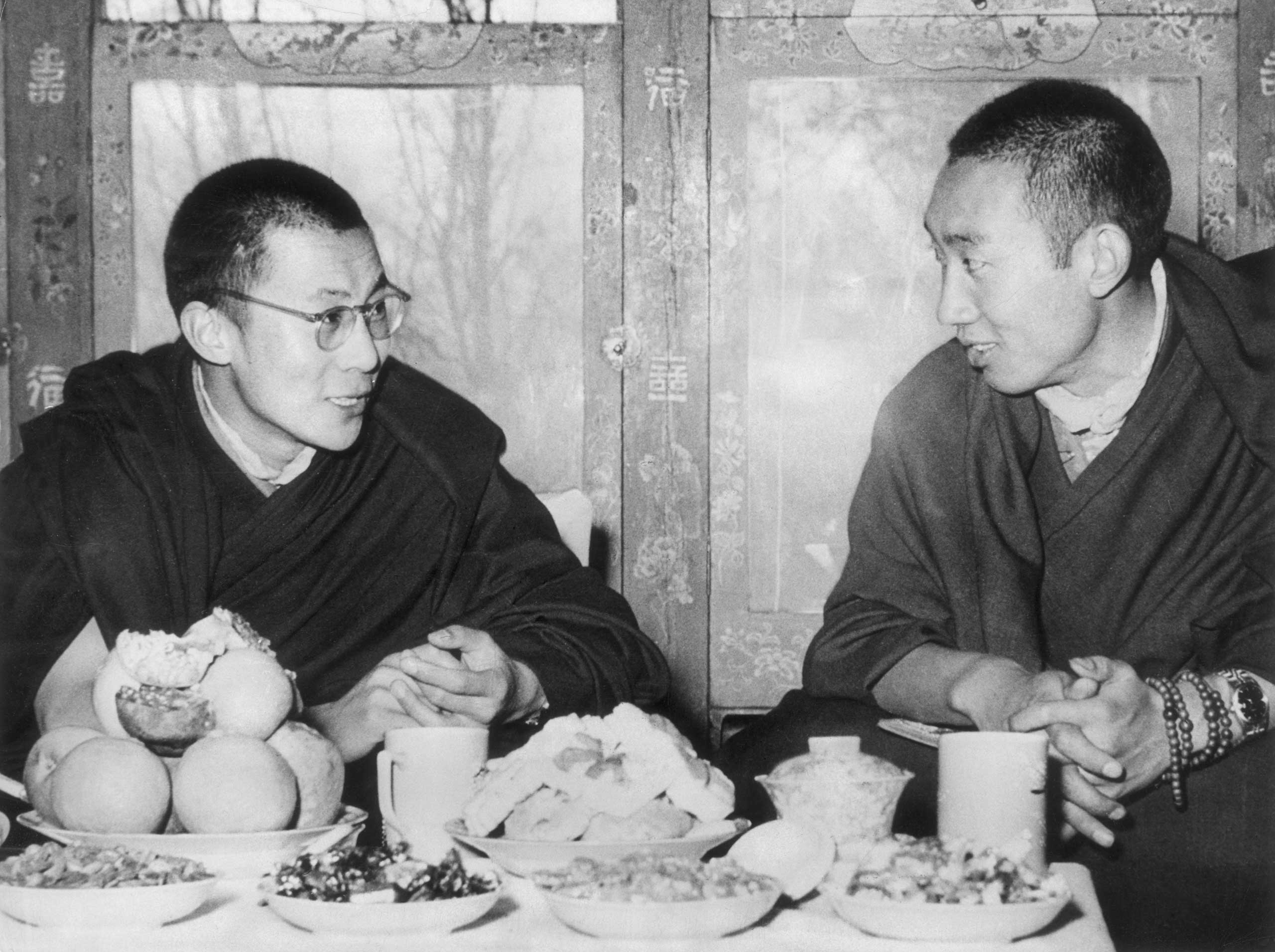 The Dalai Lama and the Panchen Lama, second in rank as spiritual leader, pictured in Tibet in 1954.