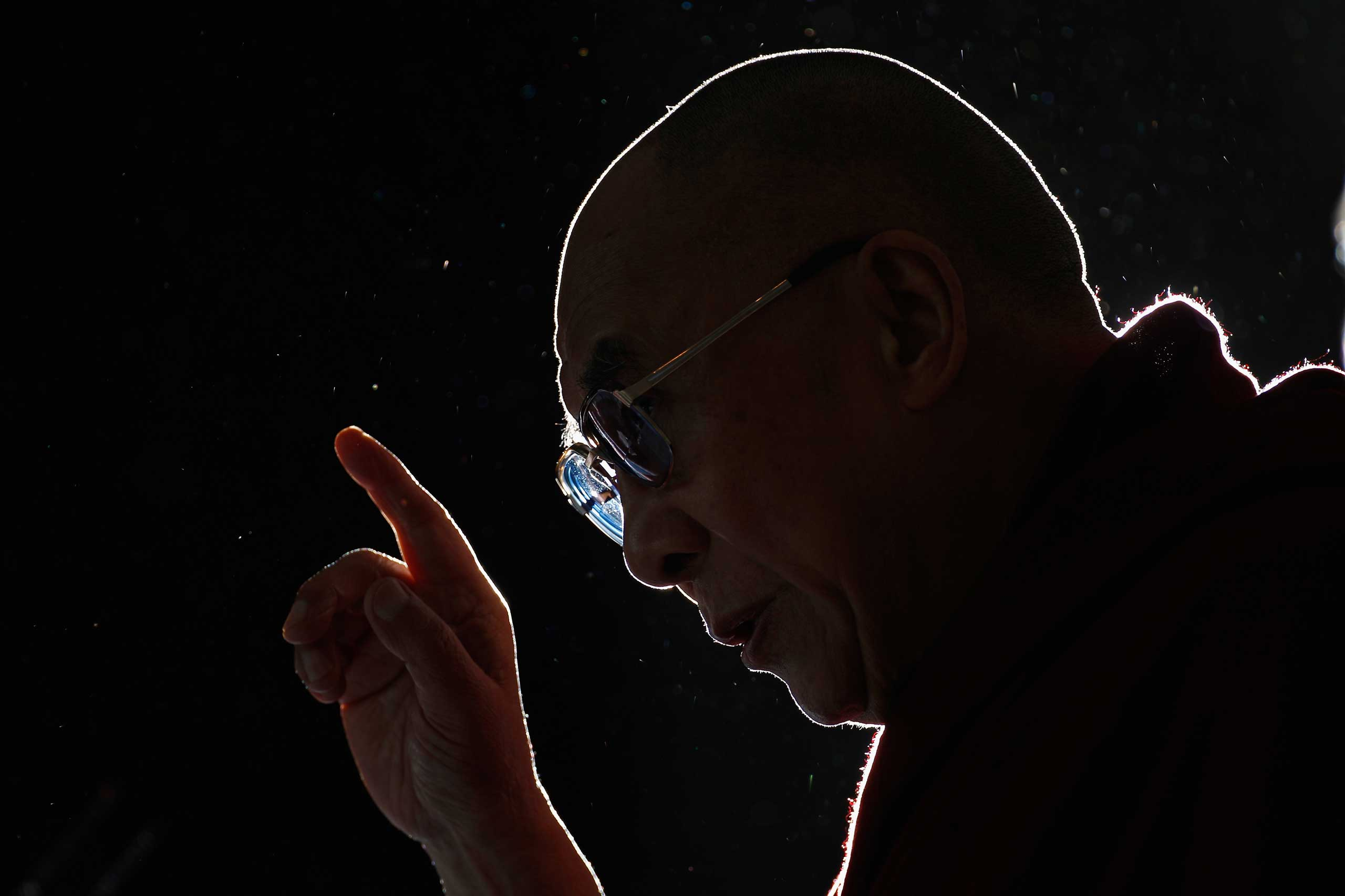 The Dalai Lama during a news conference at The Lowry Hotel in Manchester, United Kingdom, in June 2012.