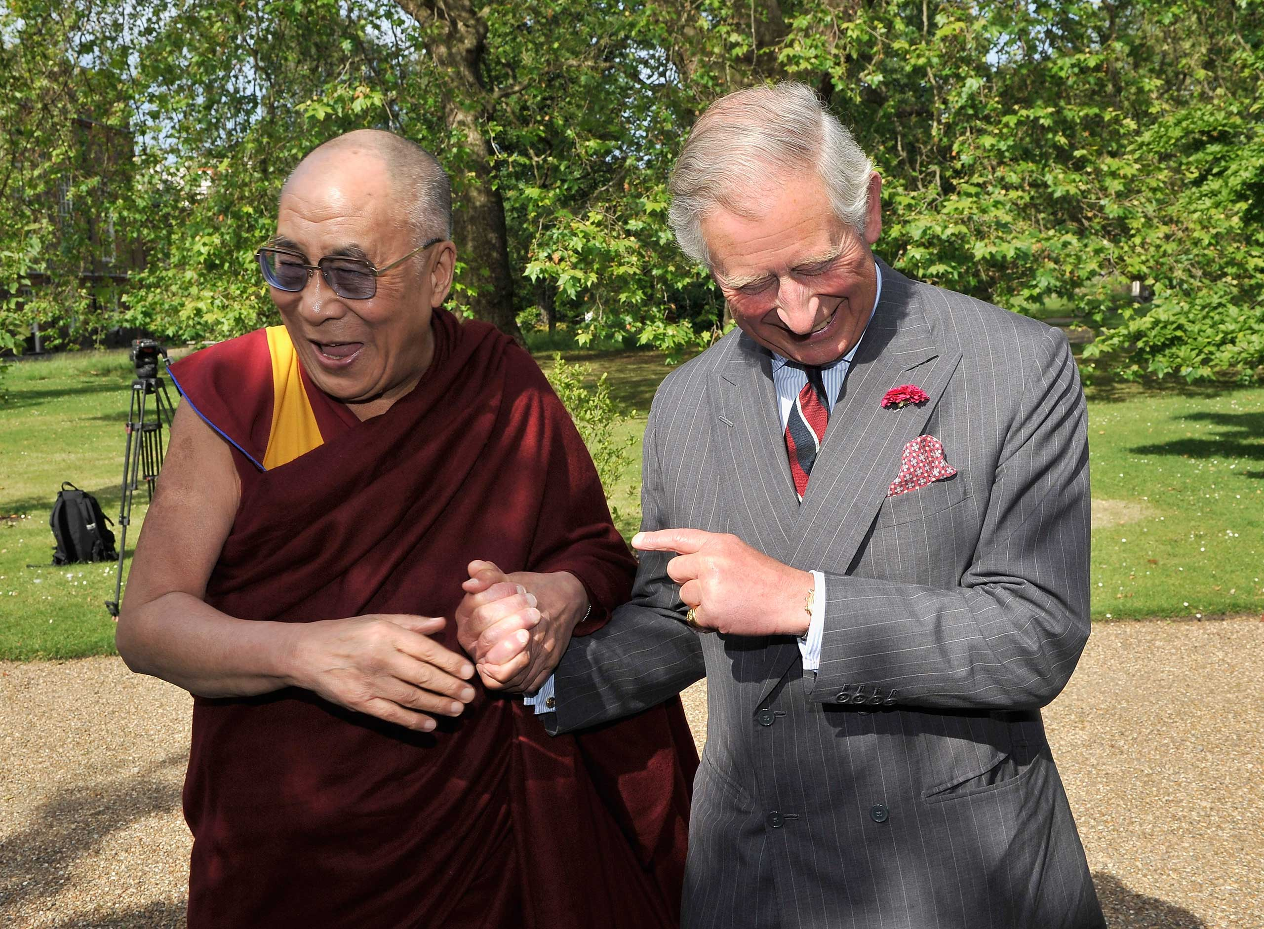 Prince Charles receives the Dalai Lama at Clarence House in London in June 2012.