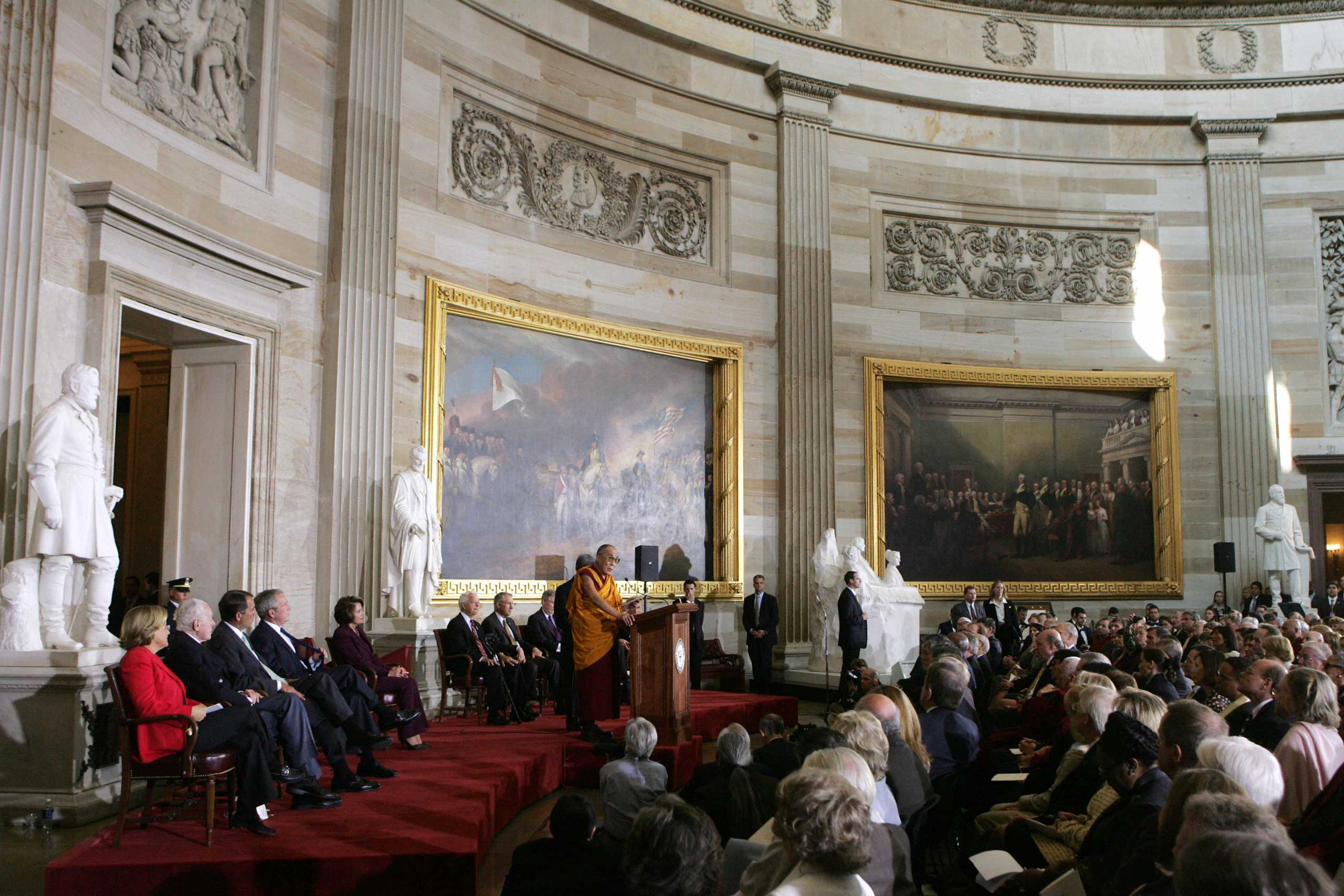 The Dalai Lama speaks during a ceremony to present him with the Congressional Gold Medal in Washington, D.C., in October 2007.