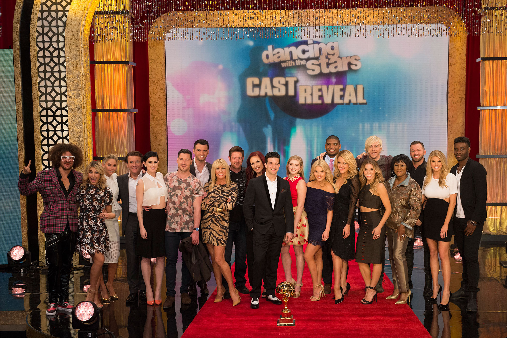 The Dancing with the Stars 10th anniversary celebrity cast                      and professional pairings seen on Good Morning America on Feb. 24, 2015.