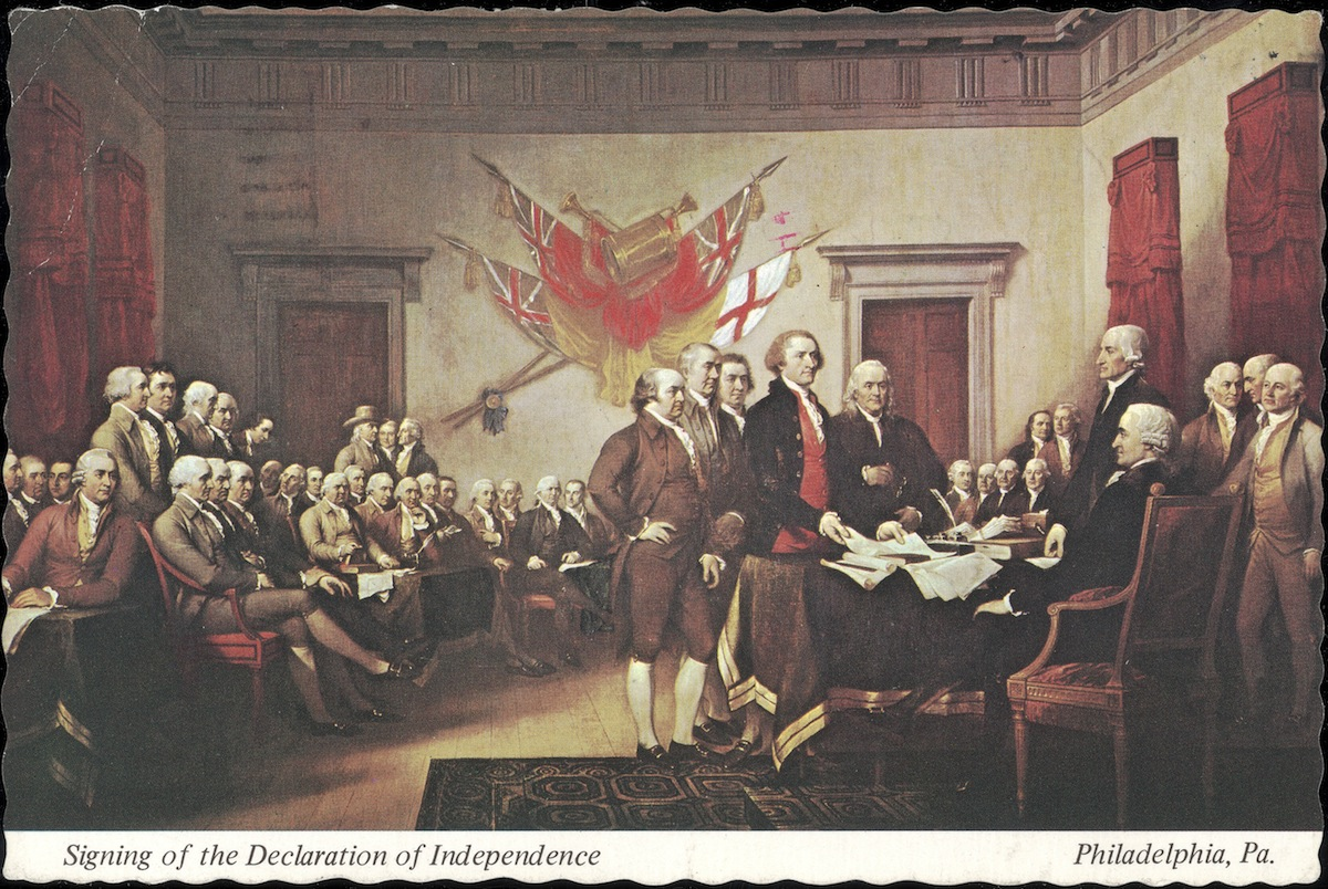 Postcard of 'The Signing of the Declaration of Independence', painted by John Trumbull