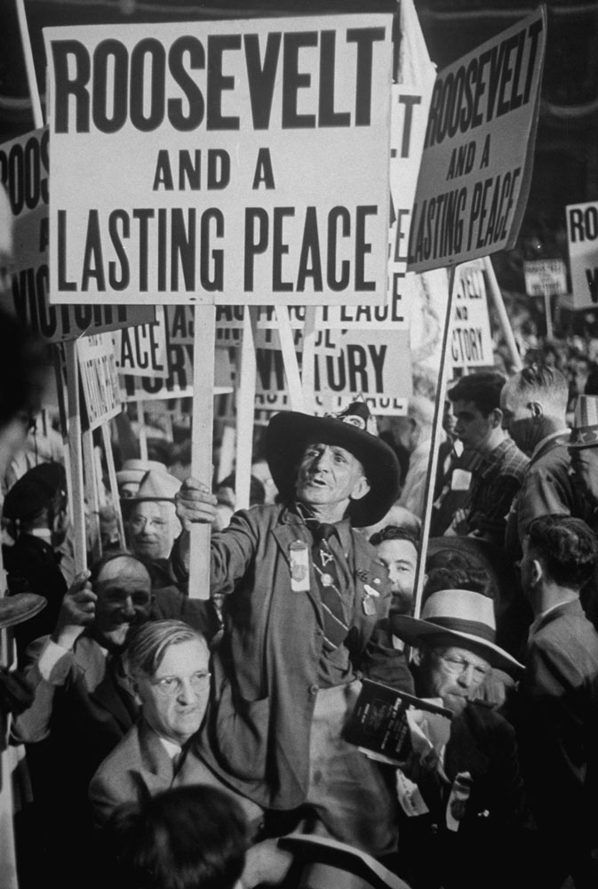 Roosevelt supporters demonstrate at the 1944 Democratic National Convention in Chicago where he was nominated for a fourth term.