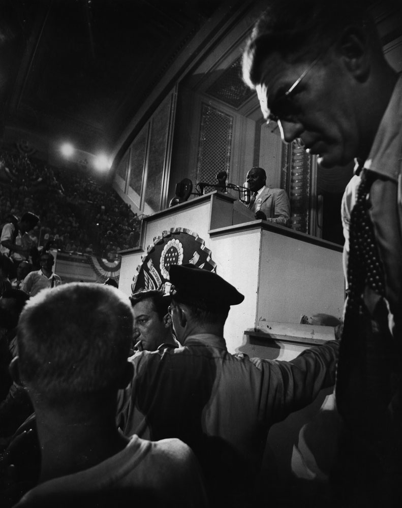 George Vaughn of Missouri offers motion to unseat the anti-Truman delegation from Mississippi during the 1948 Democratic National Convention.