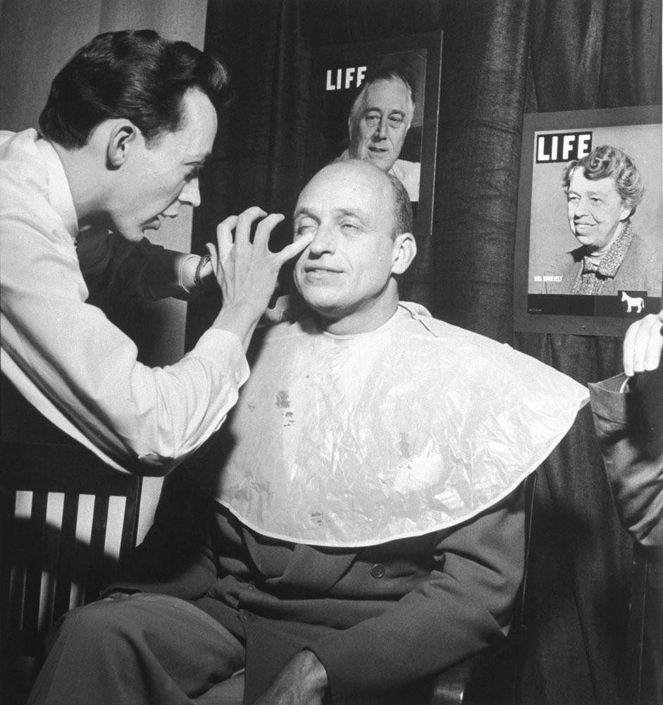 Franklin D. Roosevelt's oldest son, James, gets makeup for a television broadcast during the 1948 Democratic National Convention in Philadelphia, Penn.